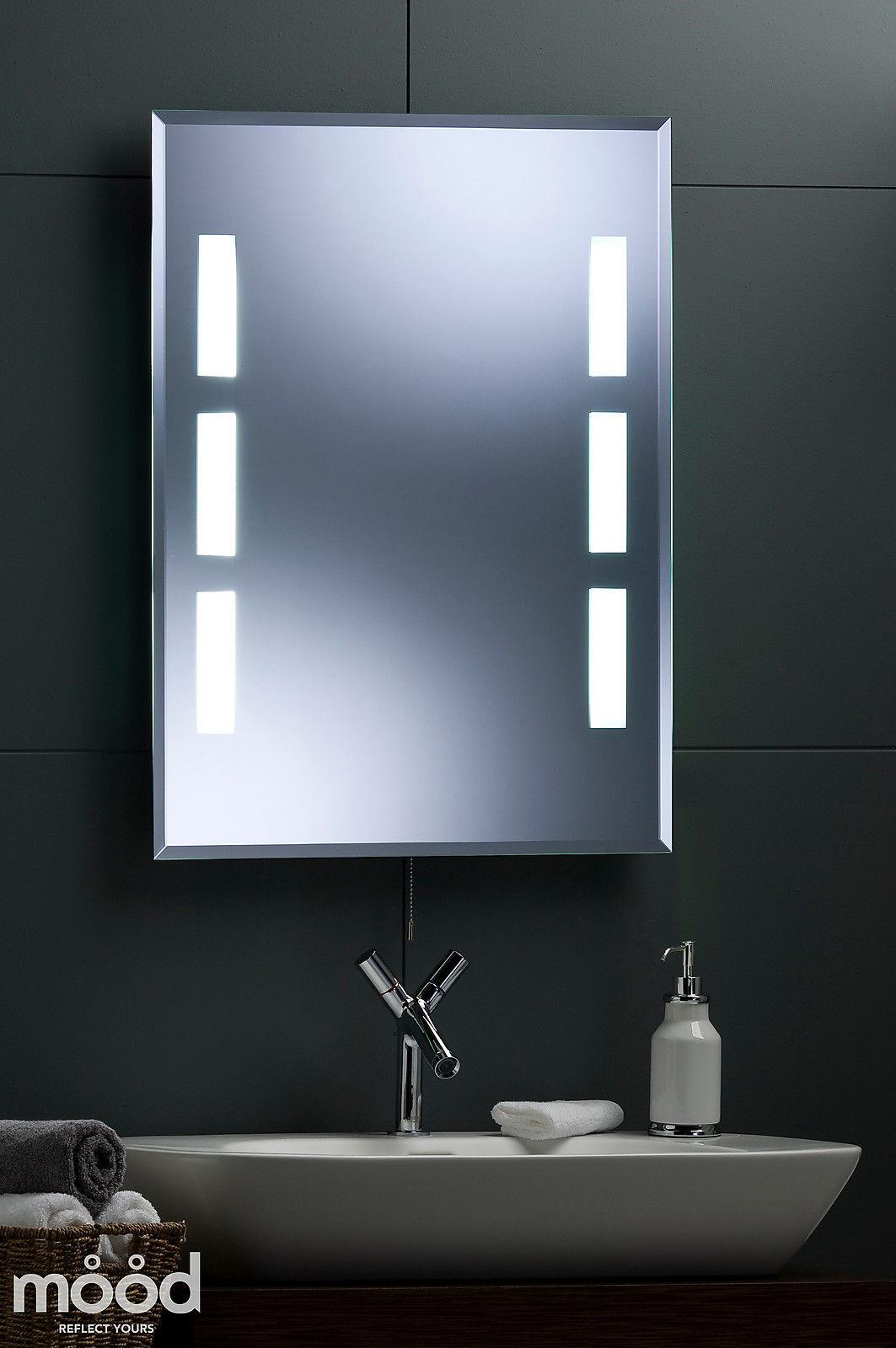 modern bathroom wall mirror illuminated fluorescent back lit 80x60 cm ebay. Black Bedroom Furniture Sets. Home Design Ideas