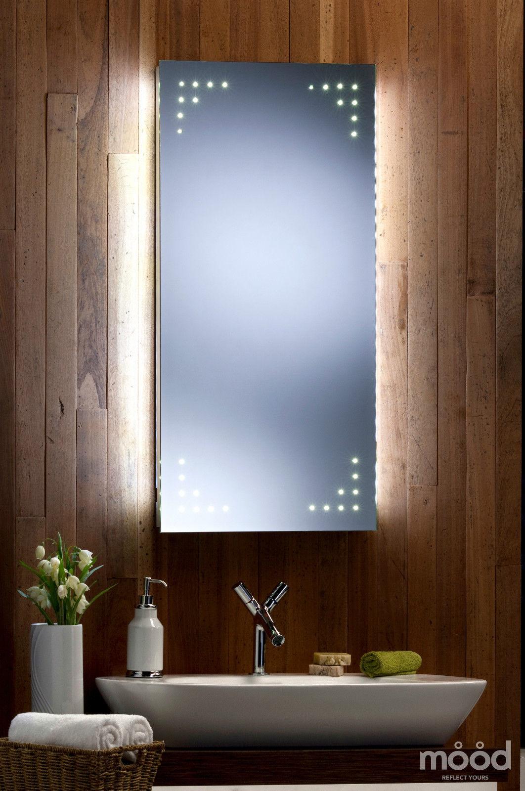 Bathroom mirror shaver ambient white glow 50cm x 100cm led for Miroir 50 x 100