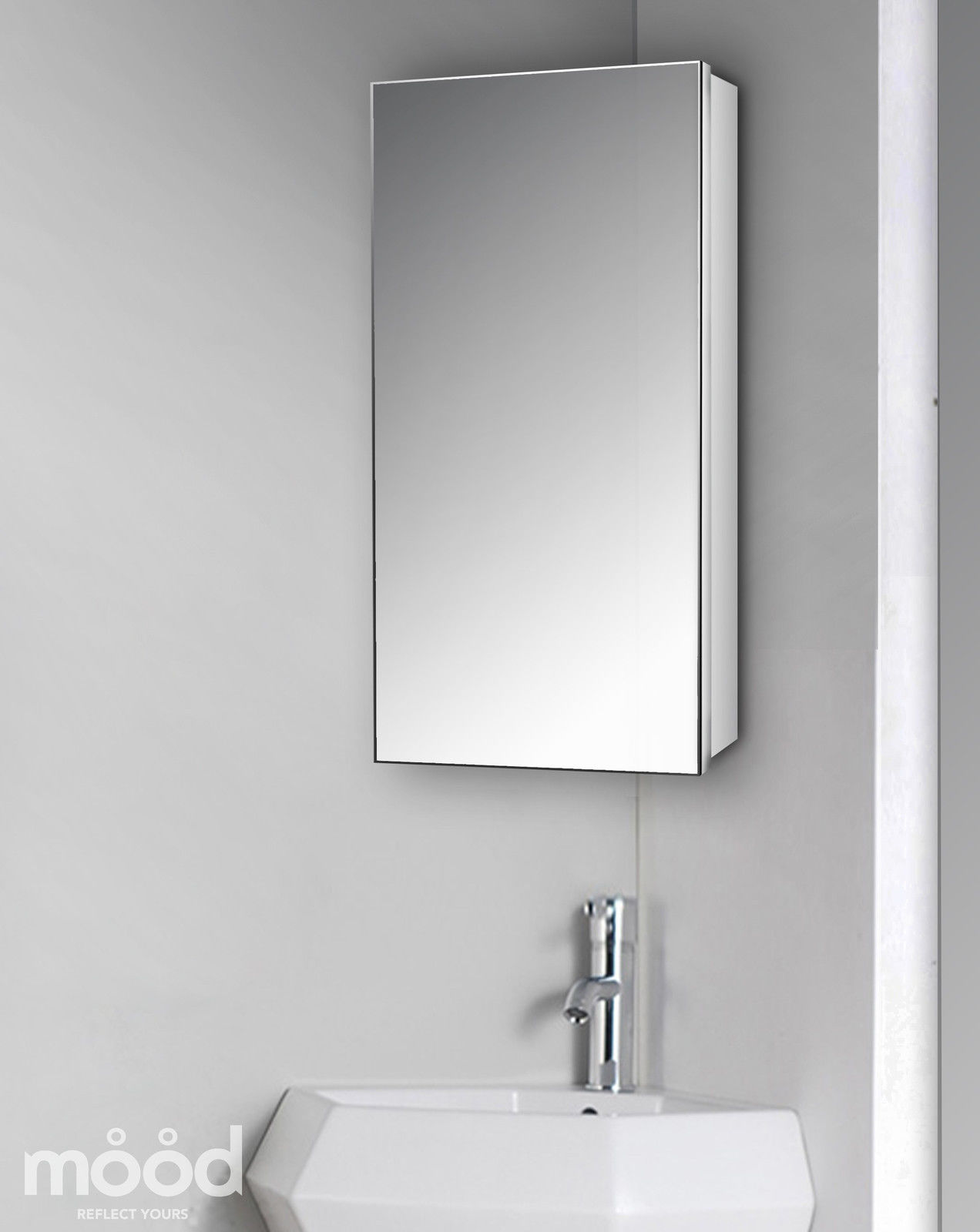 Elegant slim corner bathroom mirror cabinet 65x30 with mirror inside c24 ebay Neue design bathroom mirror