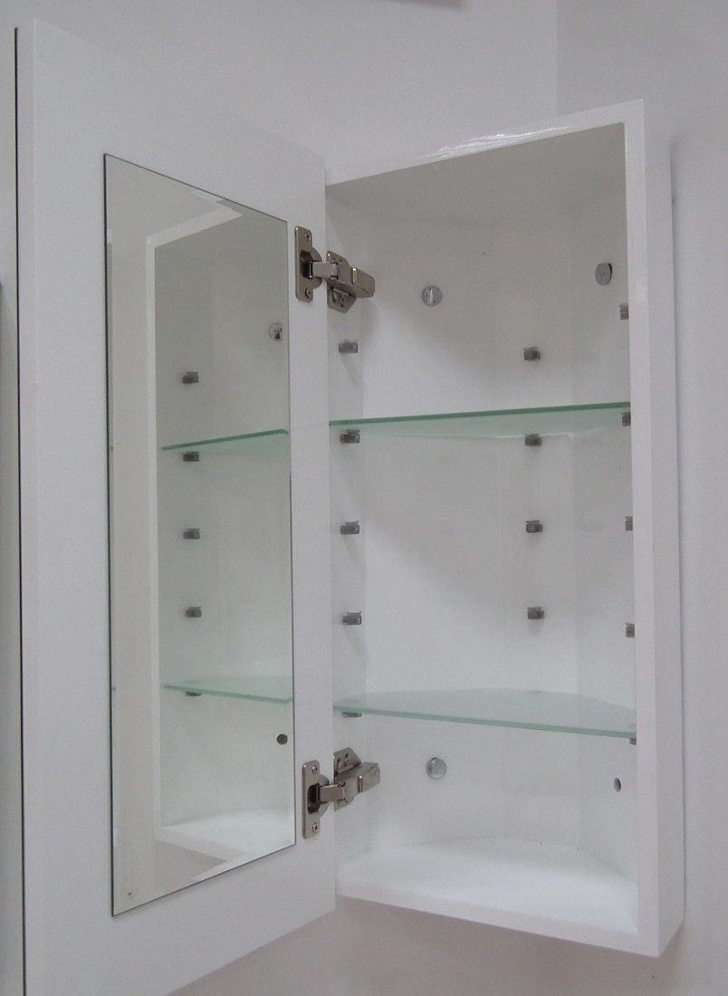 elegant slim corner bathroom mirror cabinet 65x30 with