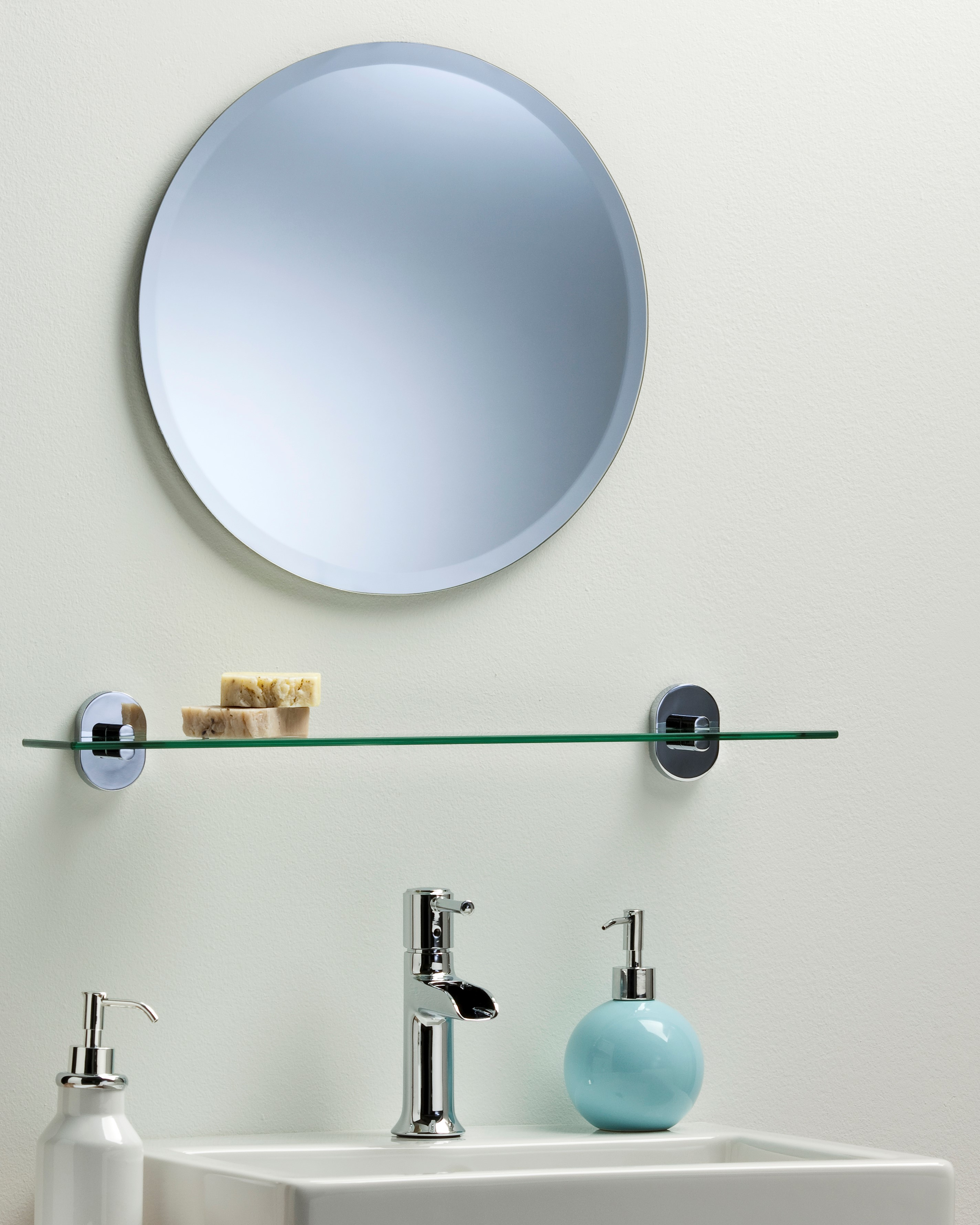 Bathroom wall mirror simple design round with bevel frameless plain ebay Neue design bathroom mirror