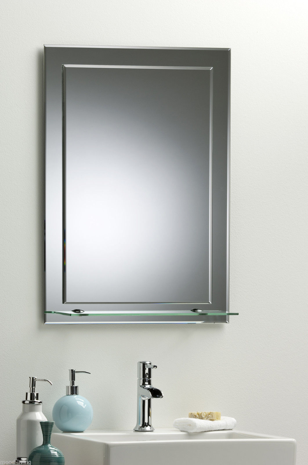 BATHROOM MIRROR ON MIRROR Elegant Rectangular WITH SHELF Wall Mounted Plain