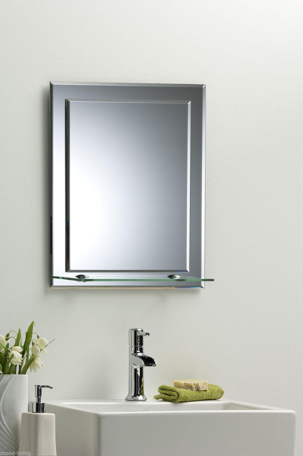 Bathroom mirror on mirror elegant rectangular with shelf - Silver bathroom mirror rectangular ...