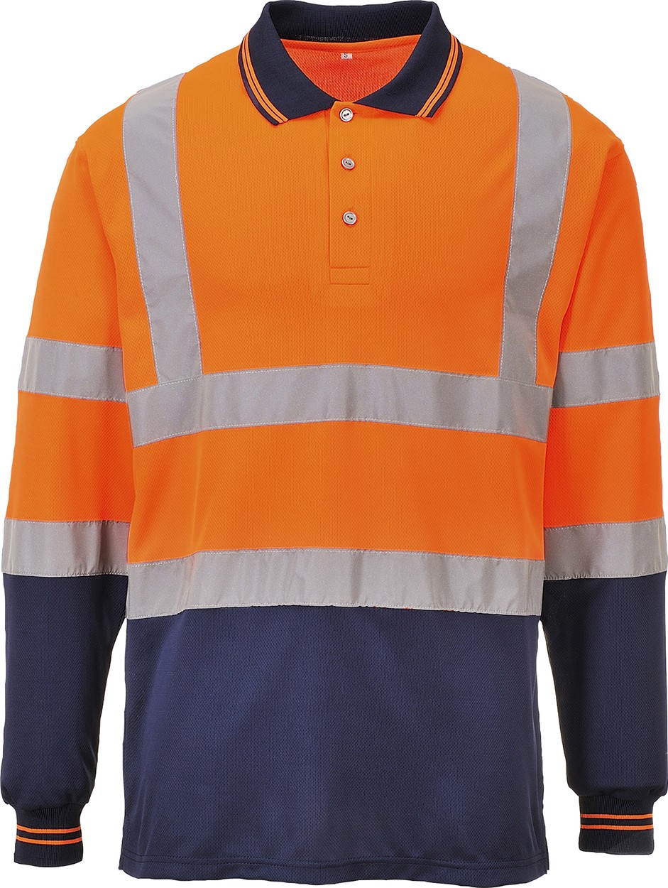 Portwest s279 mens work polo shirt long sleeved 2 tone hi for Mens work polo shirts