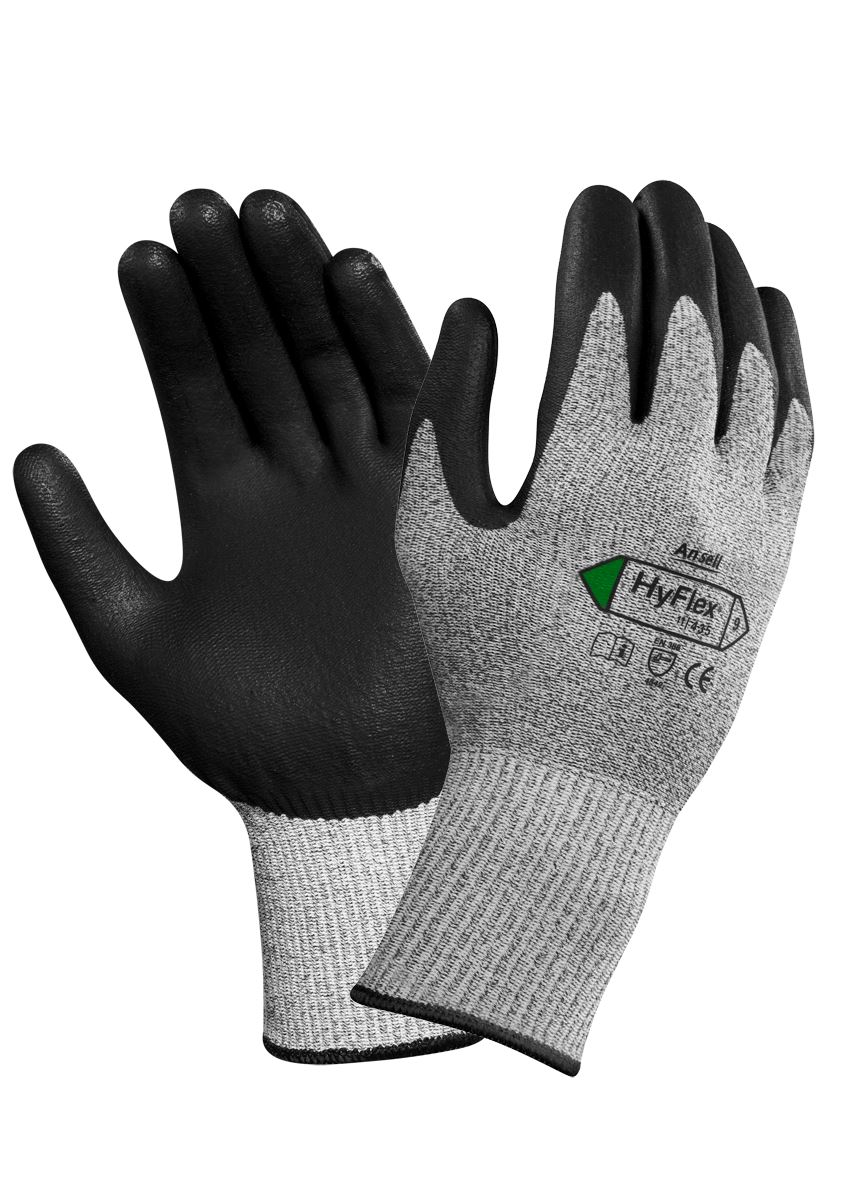 Ansell hyflex 11 435 work gloves grip pu palm coated for 11 435