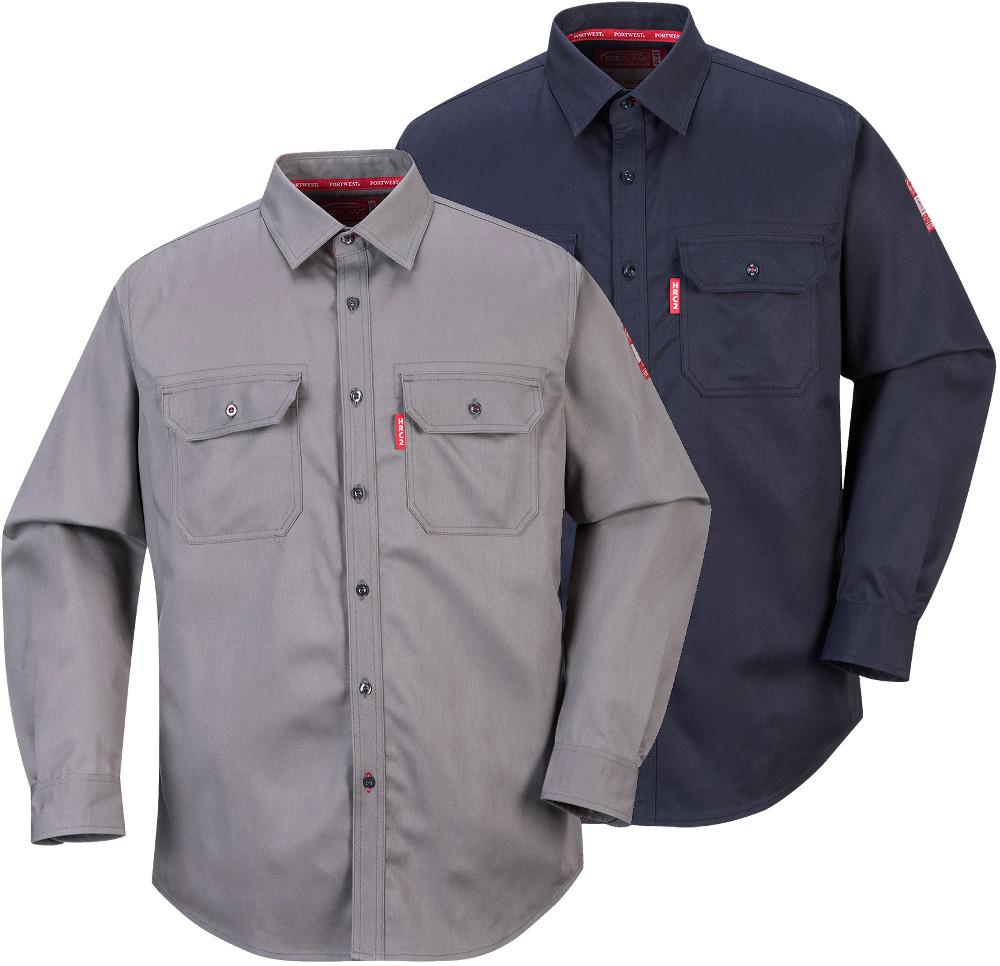 Portwest fr89 mens fr work shirt bizflame 88 12 flame for Flame resistant work shirts