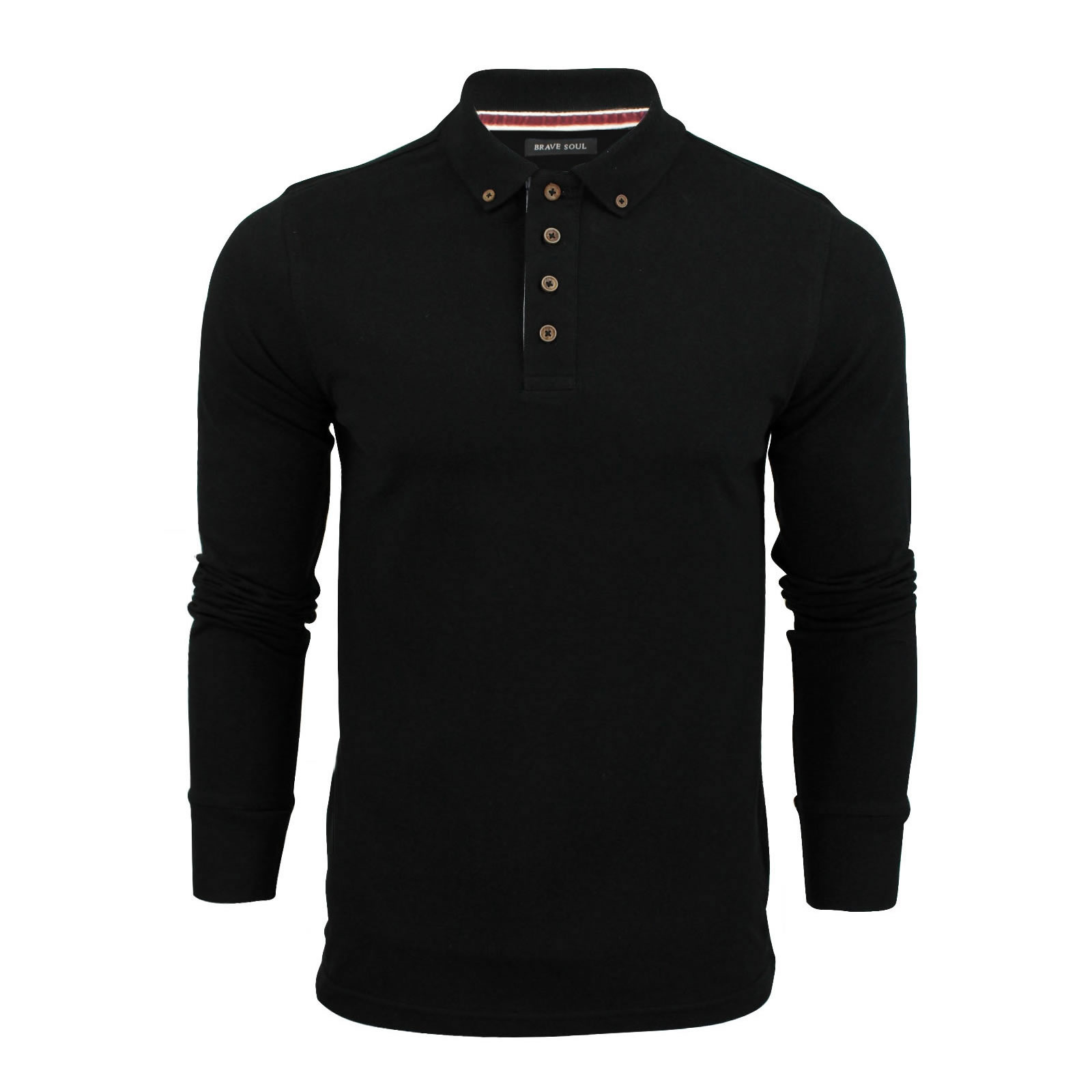 Mens Polo T Shirt Brave Soul Lincoln Long Sleeve Cotton