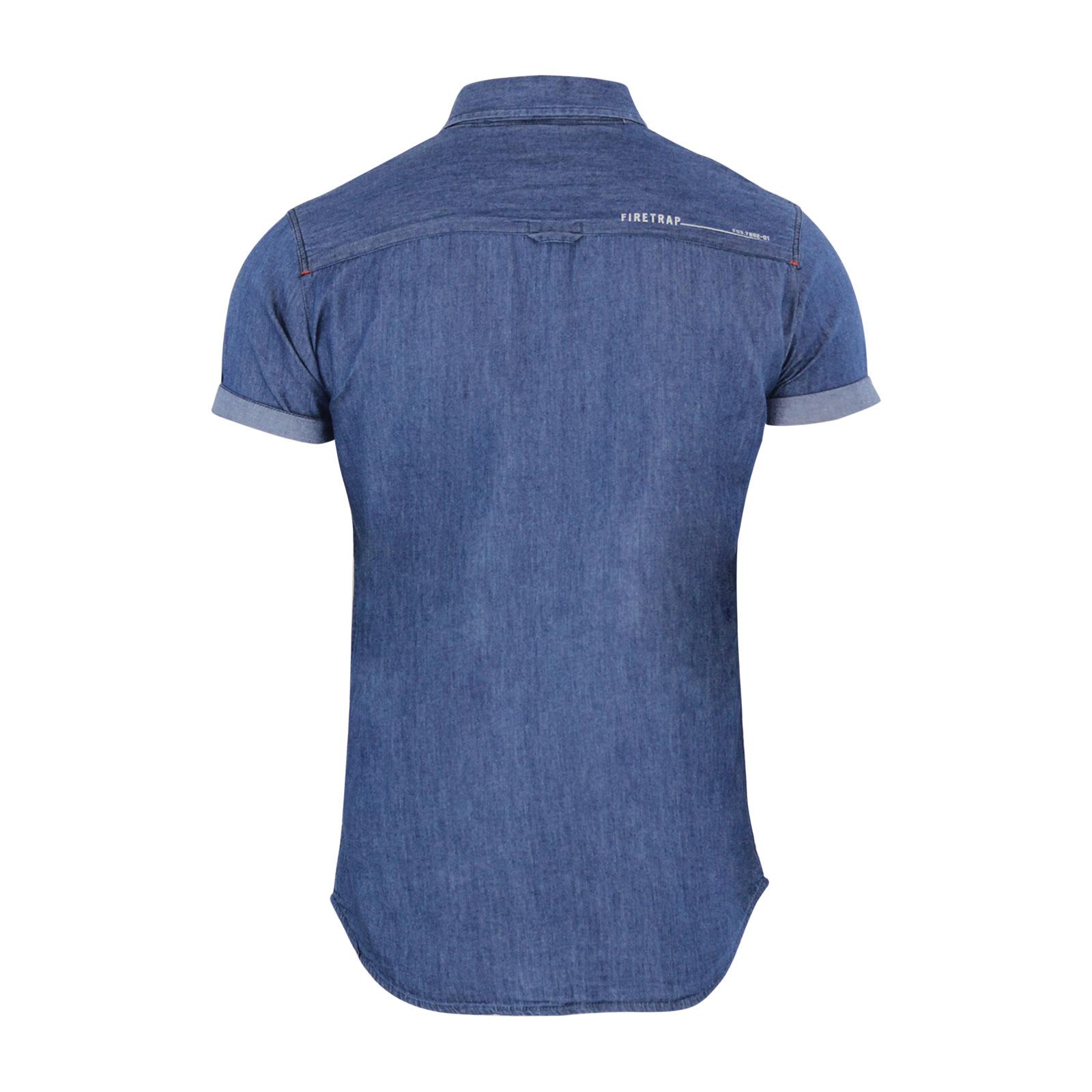 Mens denim shirt firetrap barley chambray collared short for Short sleeve casual shirt