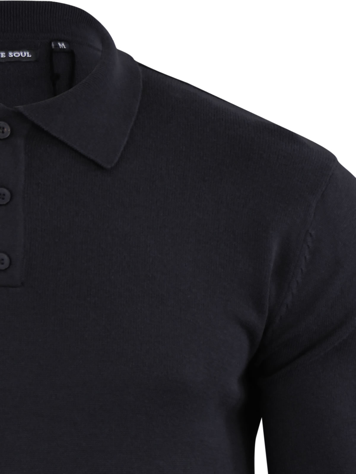 Mens-Knitted-Polo-T-Shirt-Brave-Soul-Placket-Collared-Jumper thumbnail 4