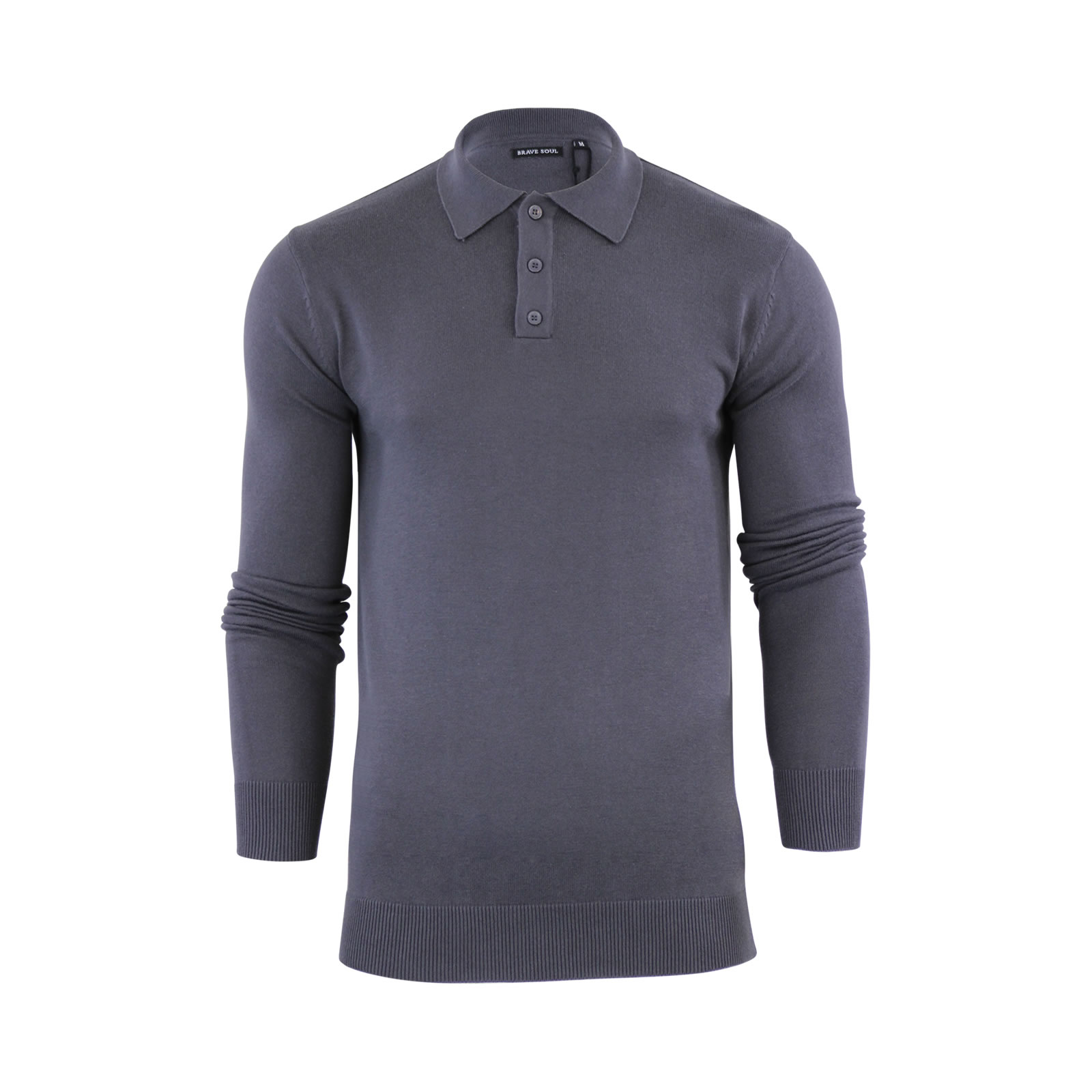 Mens knitted polo t shirt brave soul placket collared for Knitted polo shirt mens