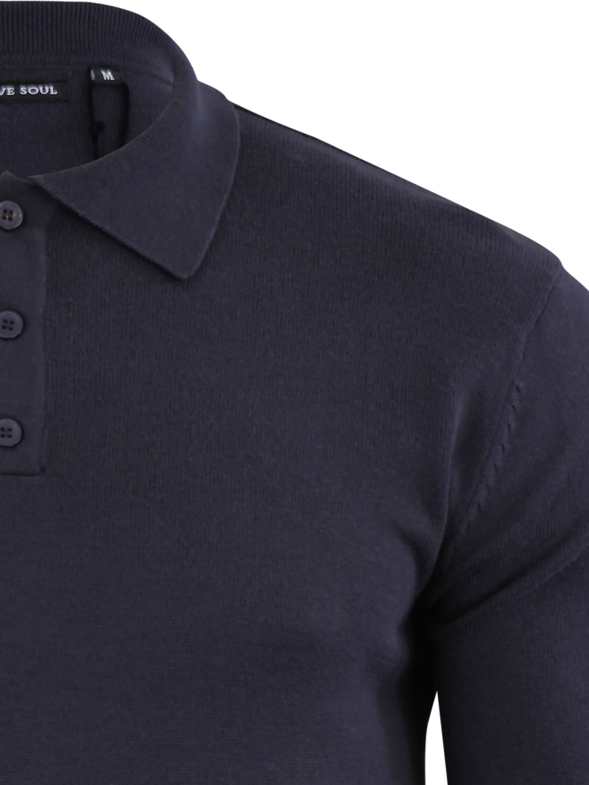 5bd00e115 Mens Knitted Polo T Shirt Brave Soul Placket Collared Jumper   eBay