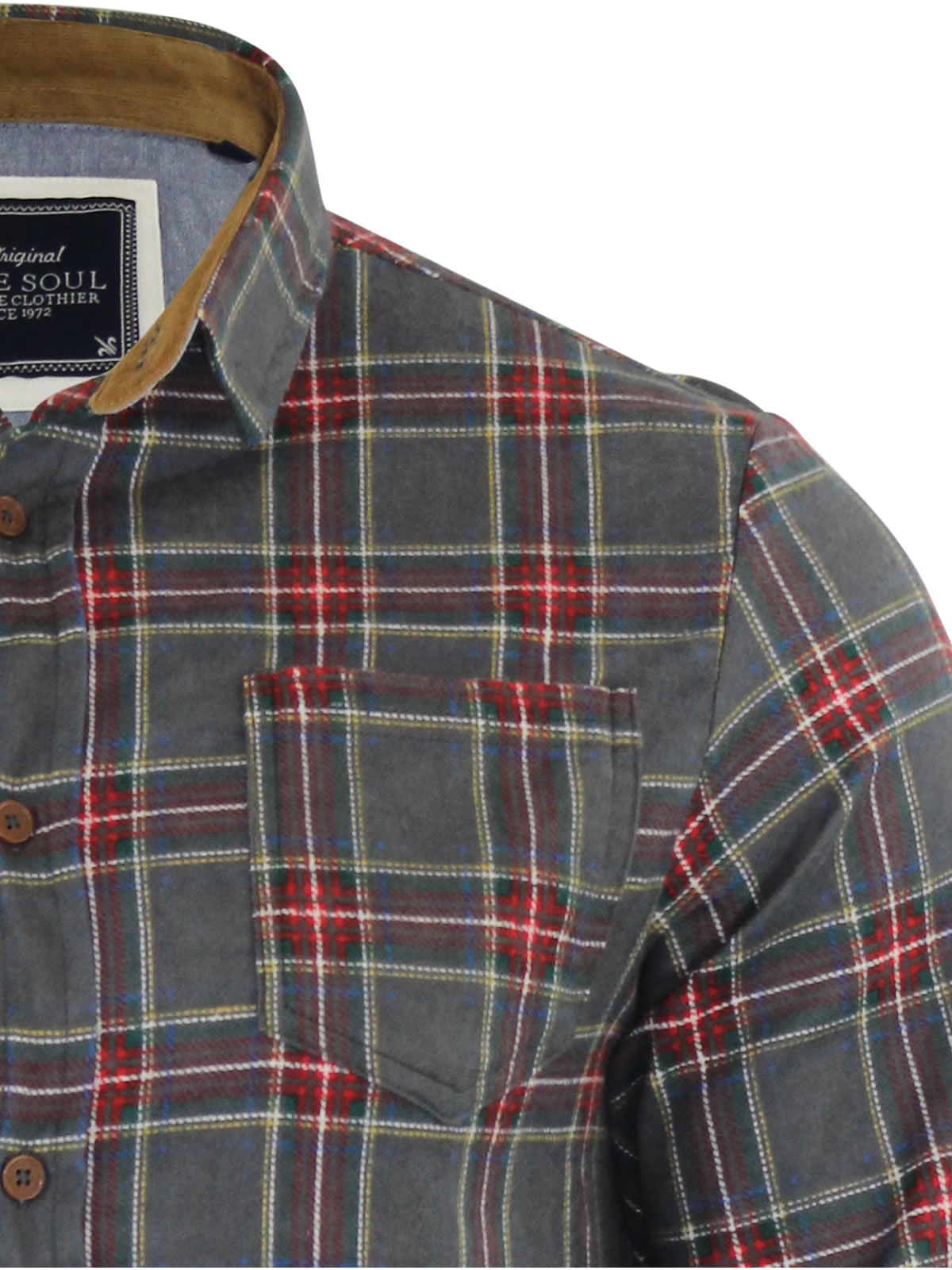 Mens-Check-Shirt-Brave-Soul-Edvard-Flannel-Brushed-Cotton-Long-Sleeve-Casual-Top thumbnail 7