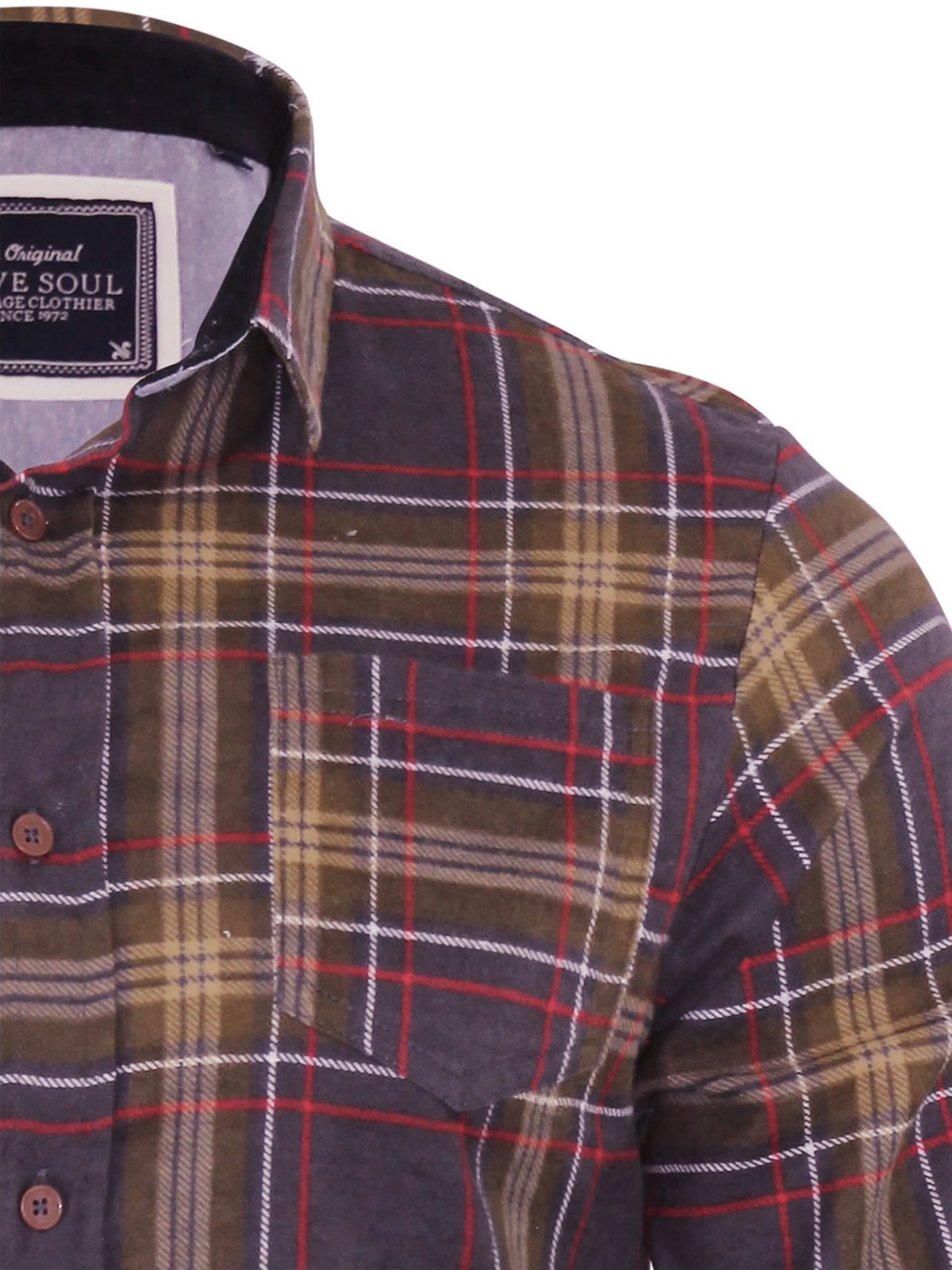 Mens-Check-Shirt-Brave-Soul-Edvard-Flannel-Brushed-Cotton-Long-Sleeve-Casual-Top thumbnail 4