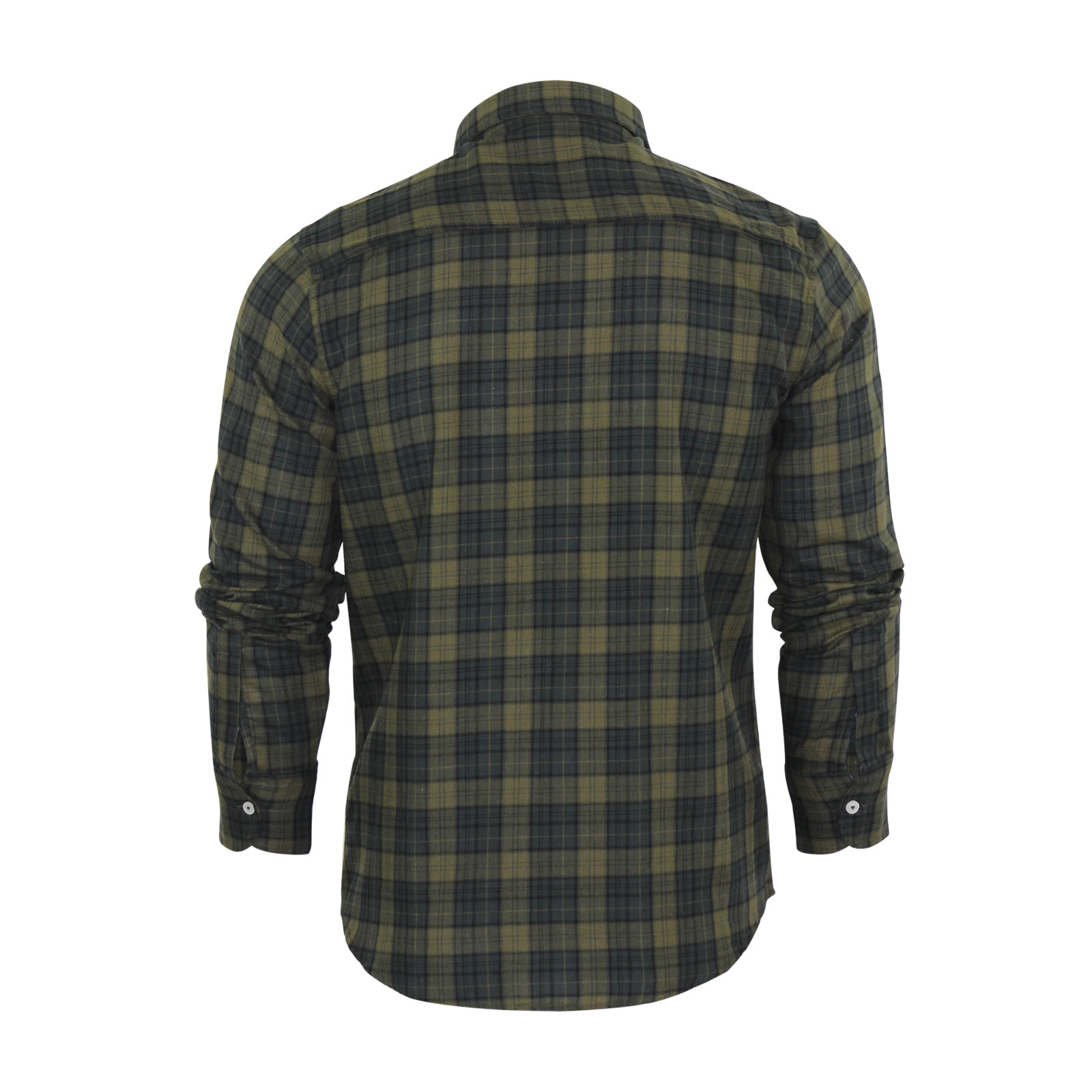 Mens check shirt brave soul pine cotton long sleeve casual for Mens long sleeve casual cotton shirts
