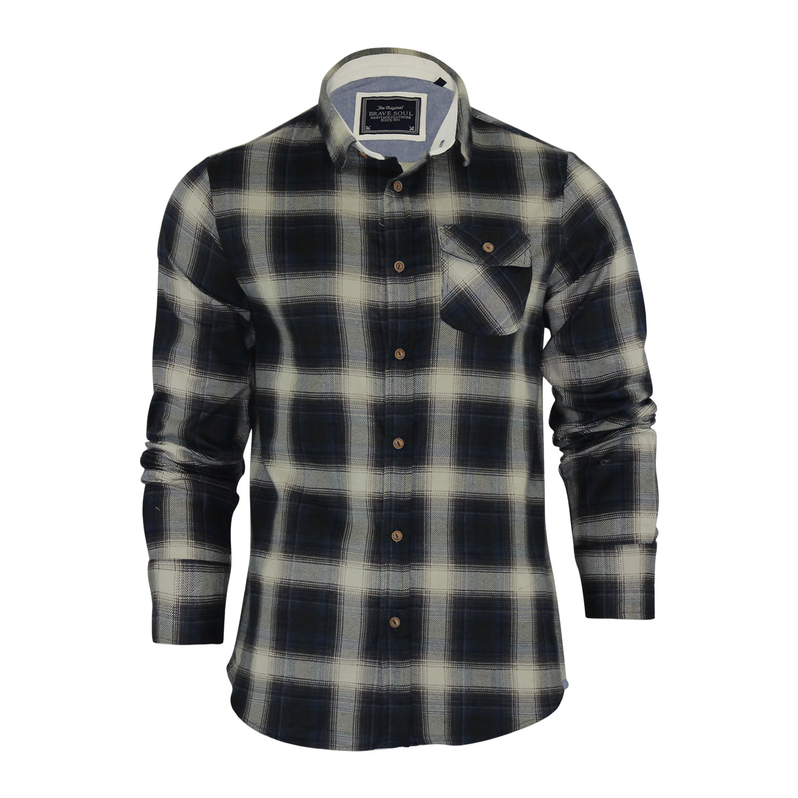 mens check shirt brave soul impala flannel brushed cotton