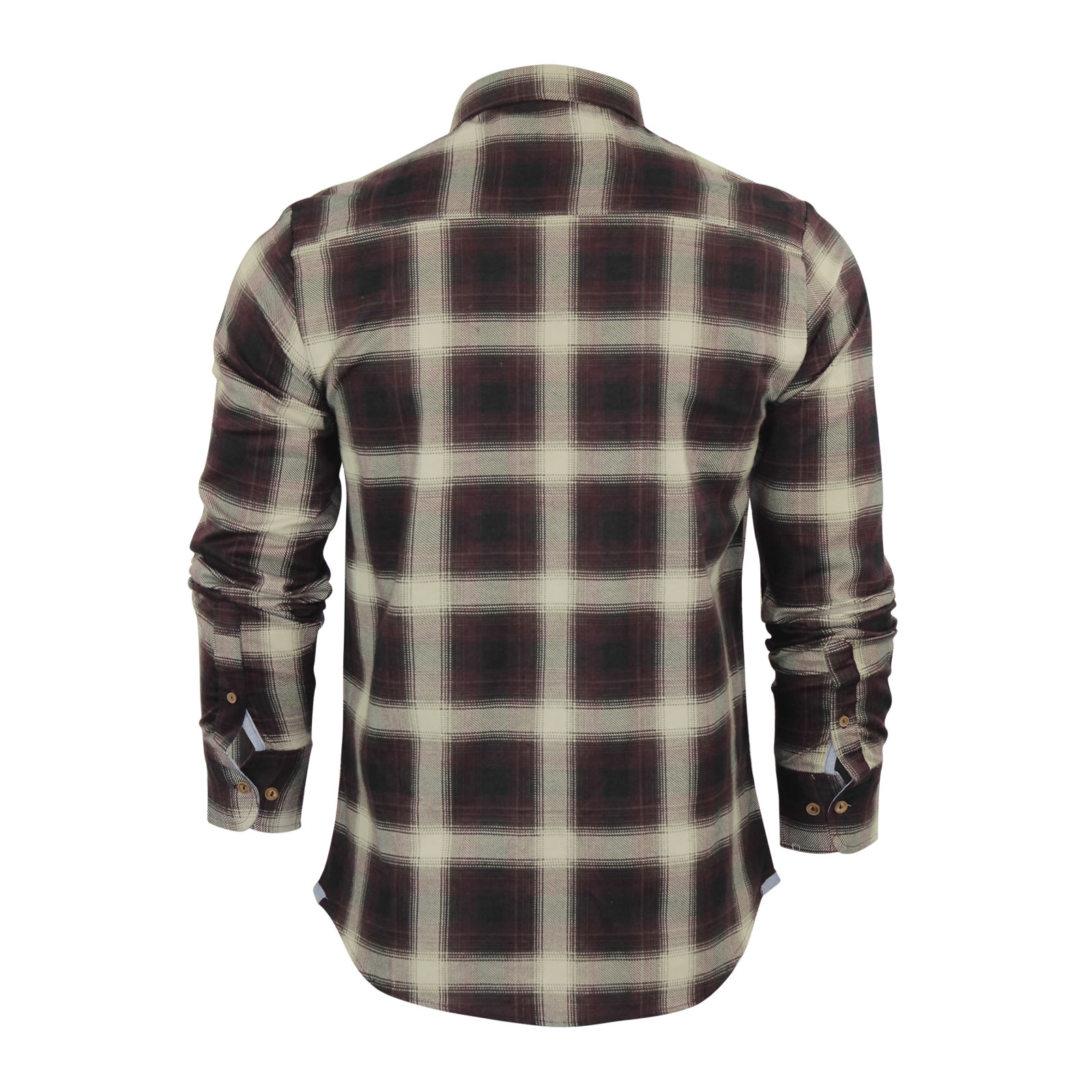 Mens Check Shirt Brave Soul Impala Flannel Brushed Cotton Long Sleeve Casual Top