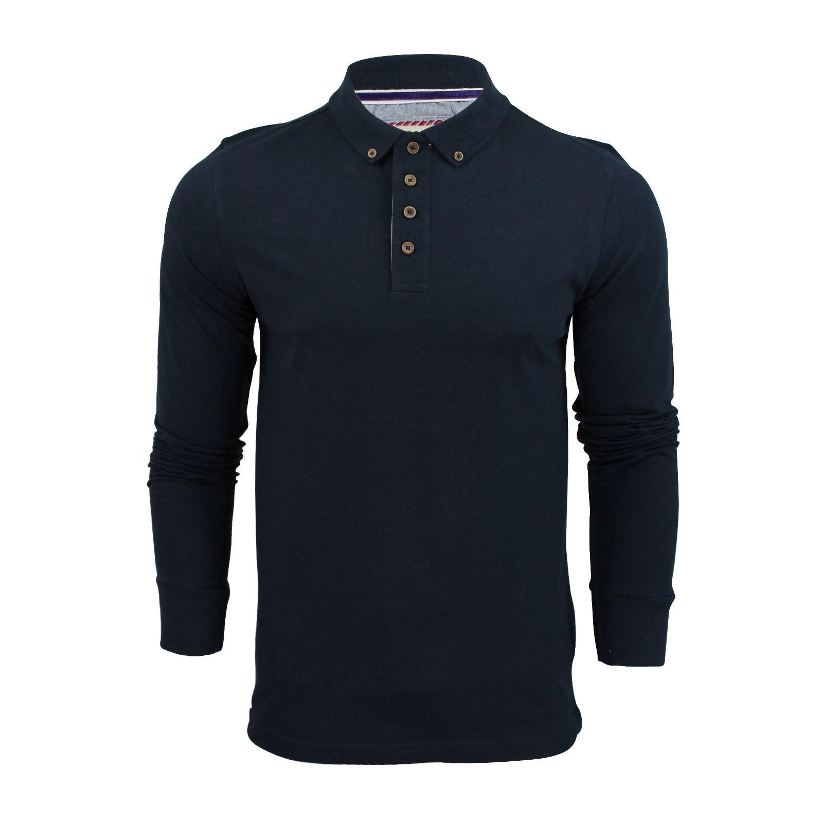 Mens polo shirt brave soul long sleeve collared top in for Mens long sleeve collared polo shirts