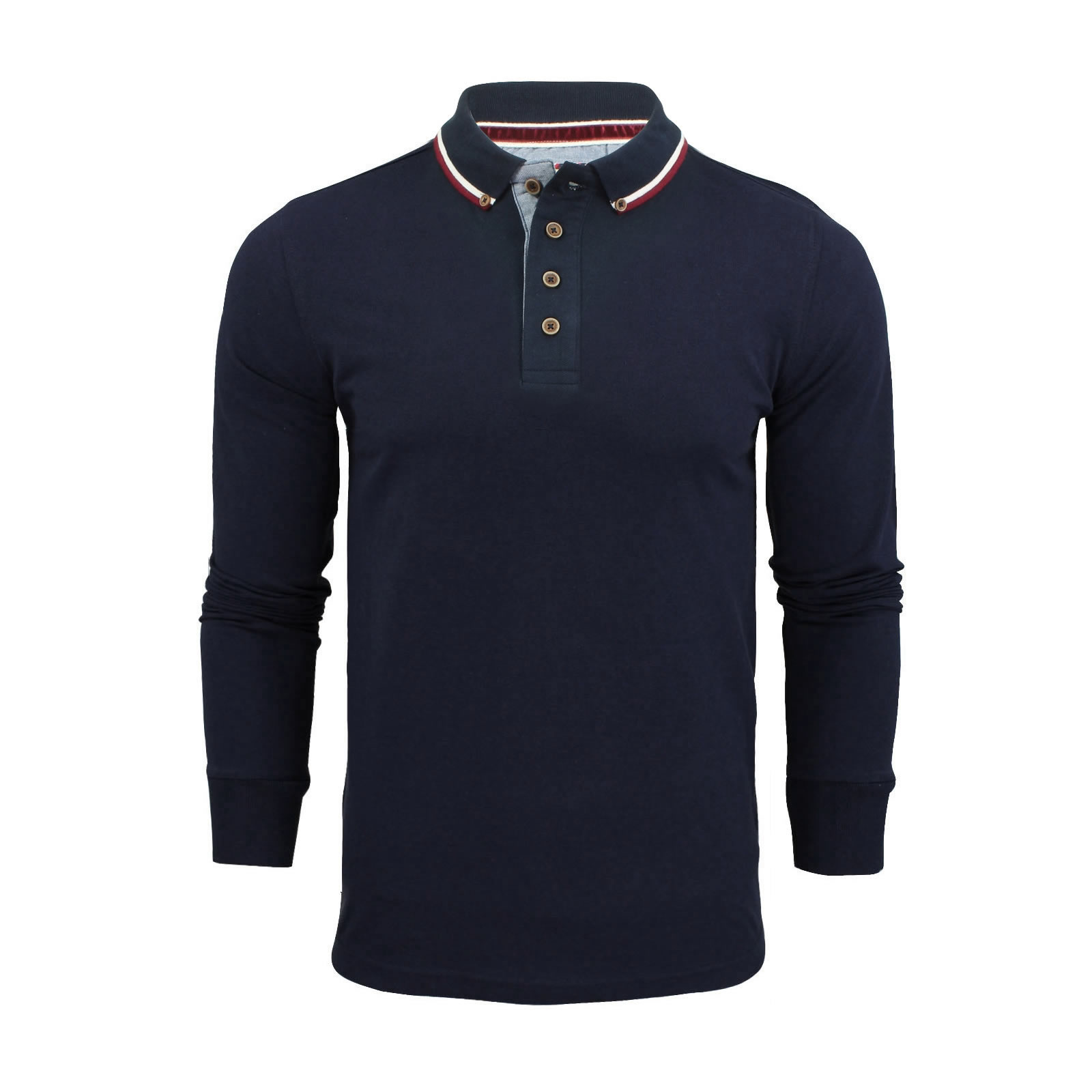 Mens Polo Shirt Brave Soul Long Sleeve Collared Top In