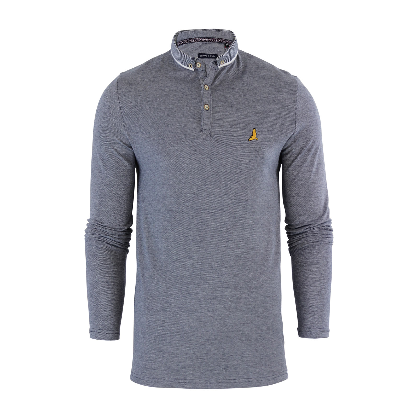 Mens polo shirt brave soul long sleeve collared top in for Men s lightweight long sleeve polo shirts