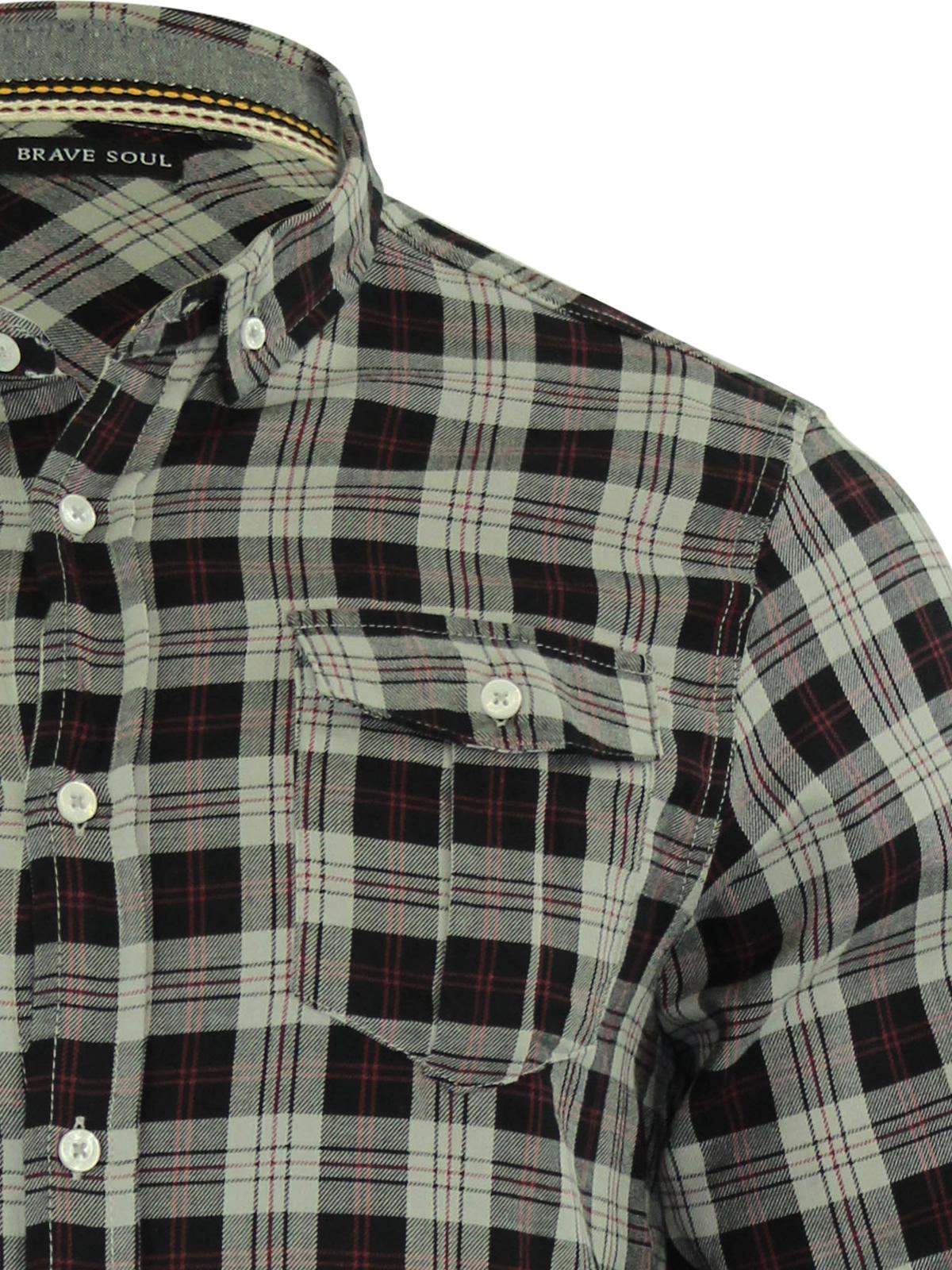 Brave Soul CONO Mens Check camicia cotone manica lunga Top Casual