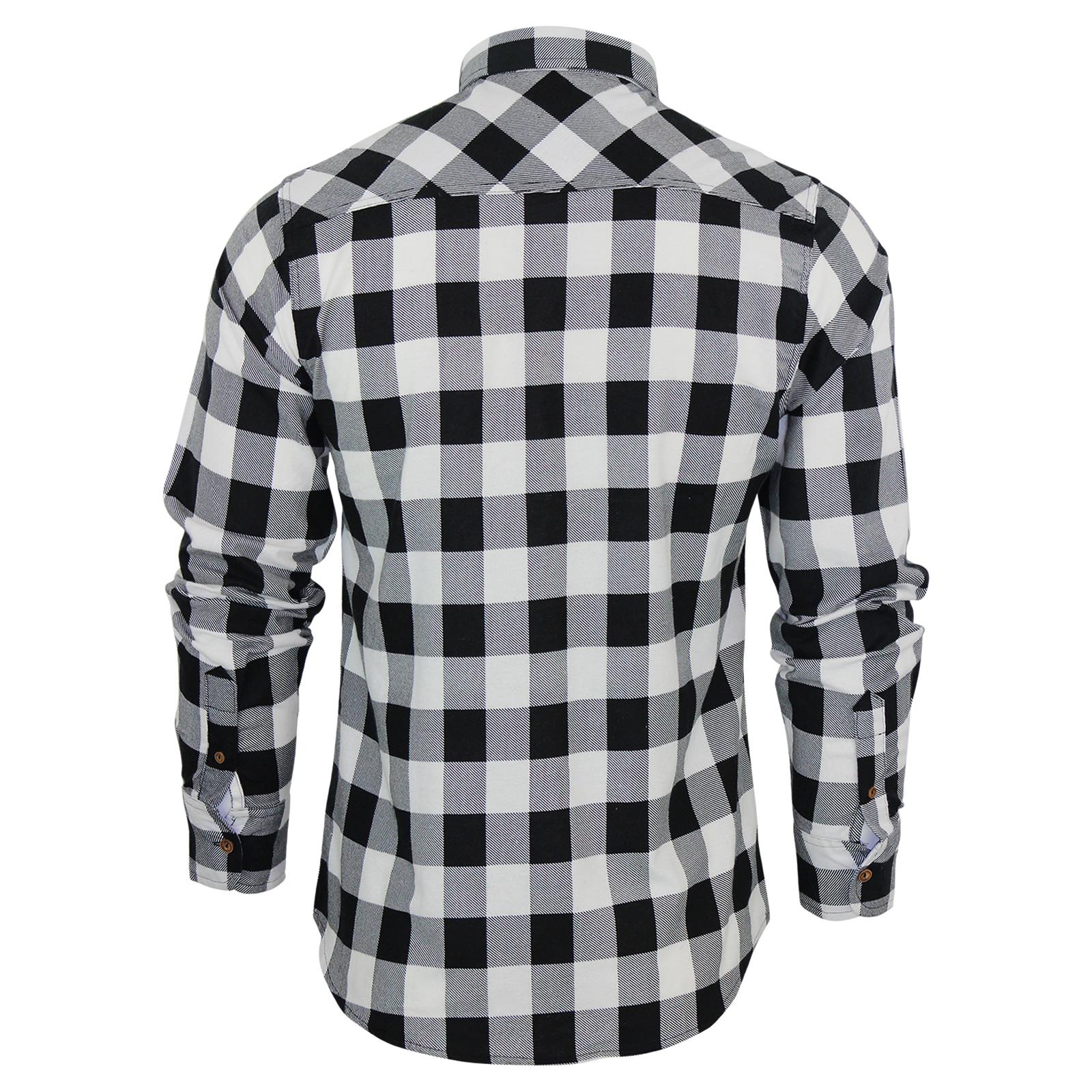 Mens Check Shirt Brave Soul Flannel Brushed Cotton Long Sleeve ...