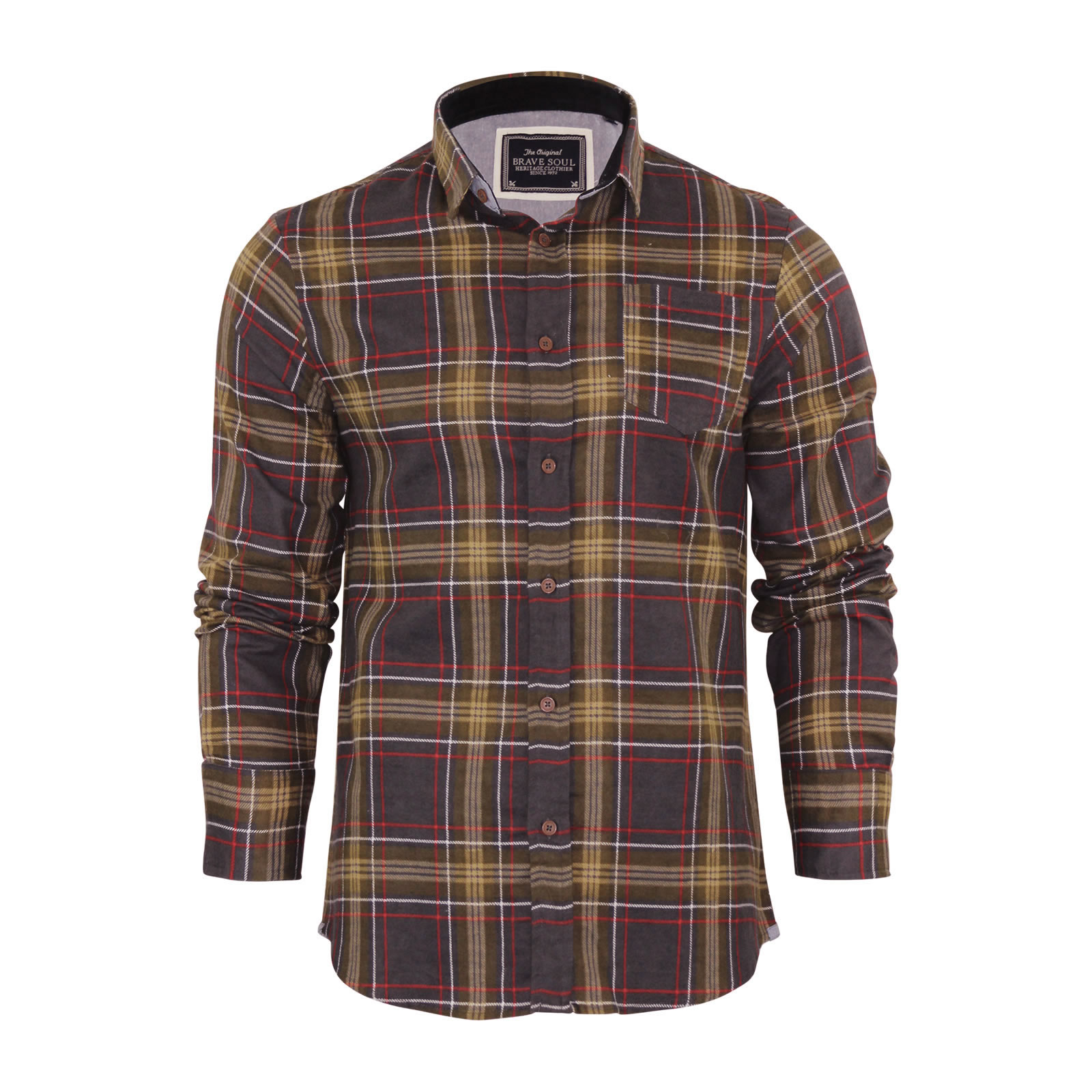 Mens check shirt brave soul flannel brushed cotton long for Mens long sleeve flannel shirts