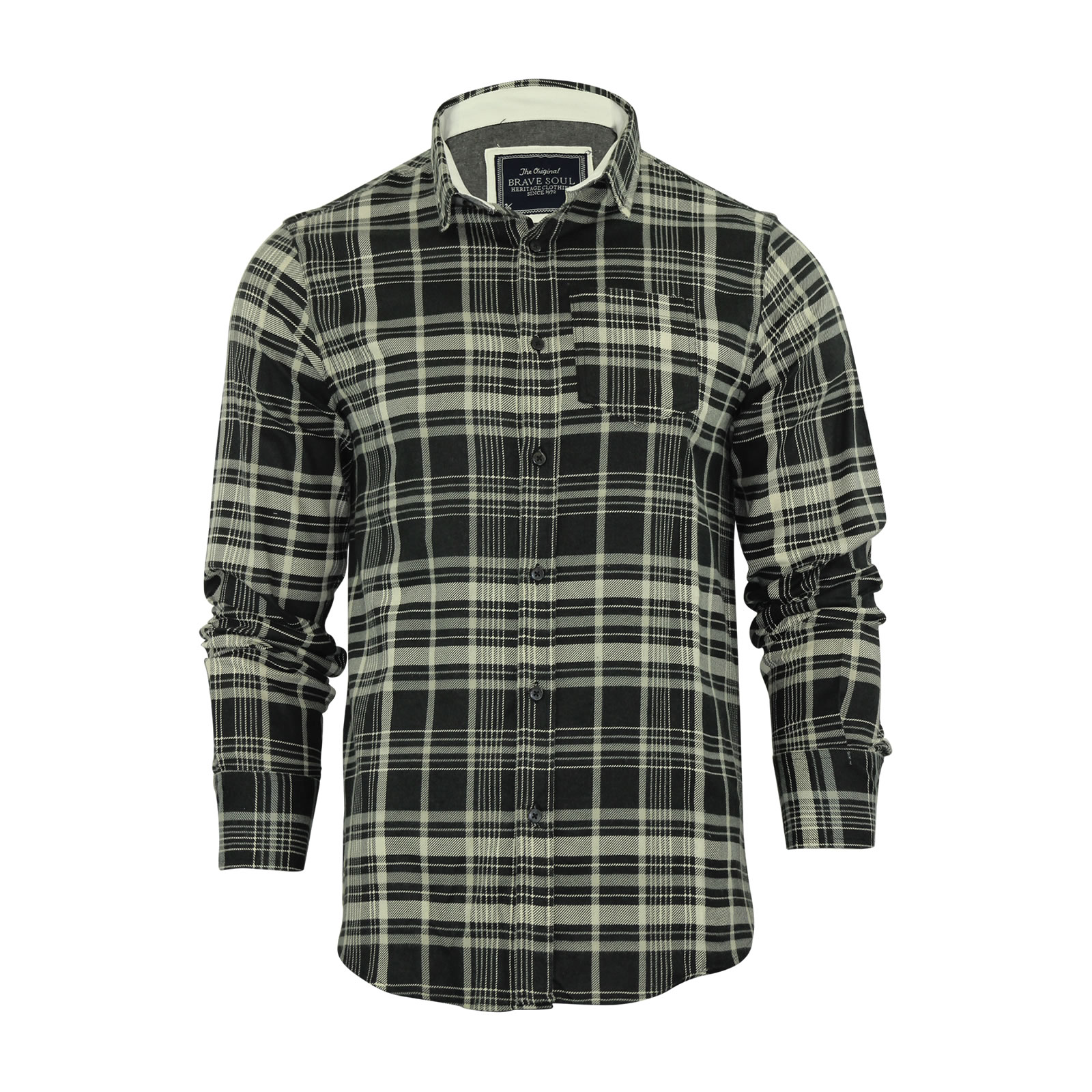 Mens Check Shirt Brave Soul Flannel Brushed Cotton Long Sleeve ...