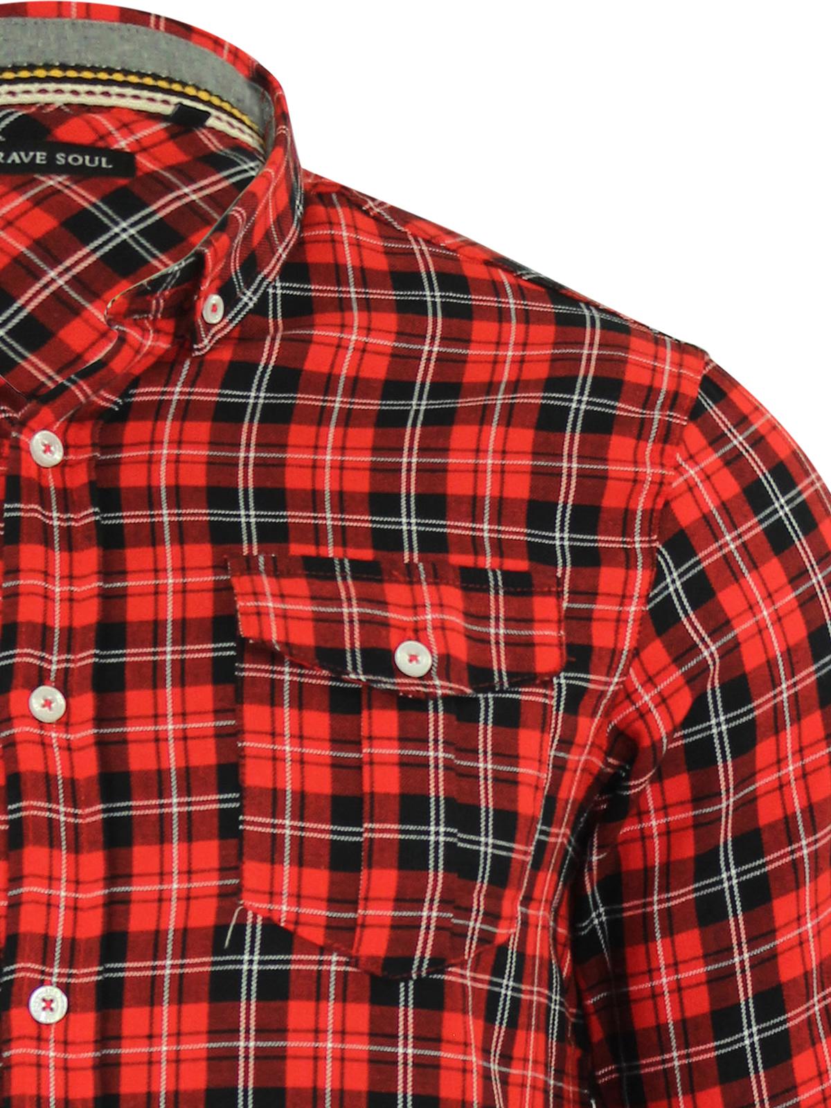 Mens check shirt brave soul cotton long sleeve casual top for Mens long sleeve casual cotton shirts