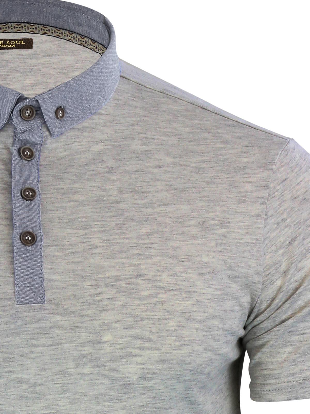 Mens-Polo-T-Shirt-Brave-Soul-Chimera-Chambray-Collared-Cotton-Casual-Top thumbnail 13