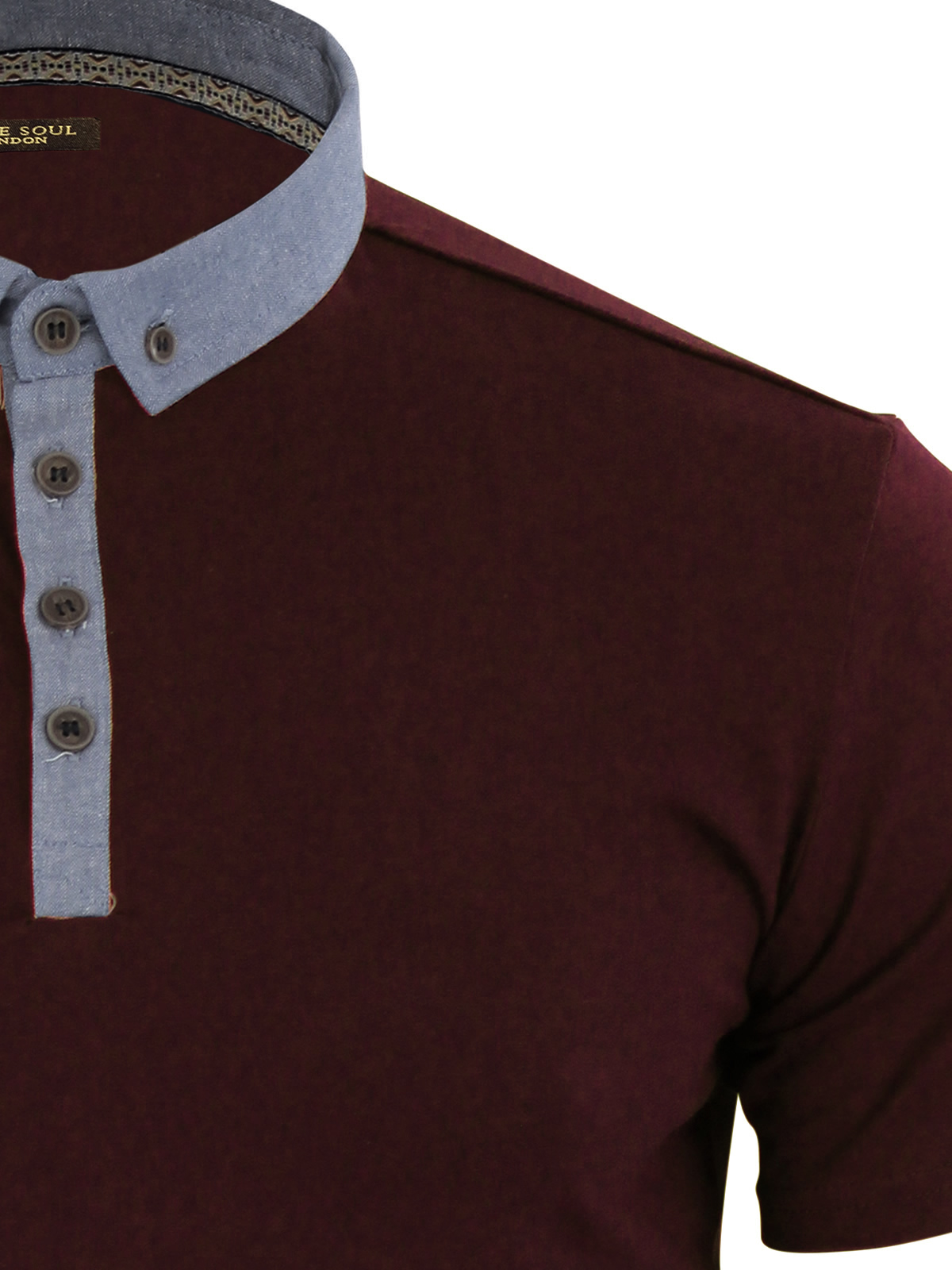 Mens-Polo-T-Shirt-Brave-Soul-Chimera-Chambray-Collared-Cotton-Casual-Top thumbnail 4