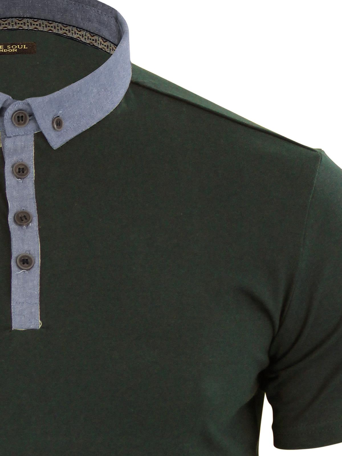 Mens-Polo-T-Shirt-Brave-Soul-Chimera-Chambray-Collared-Cotton-Casual-Top thumbnail 16