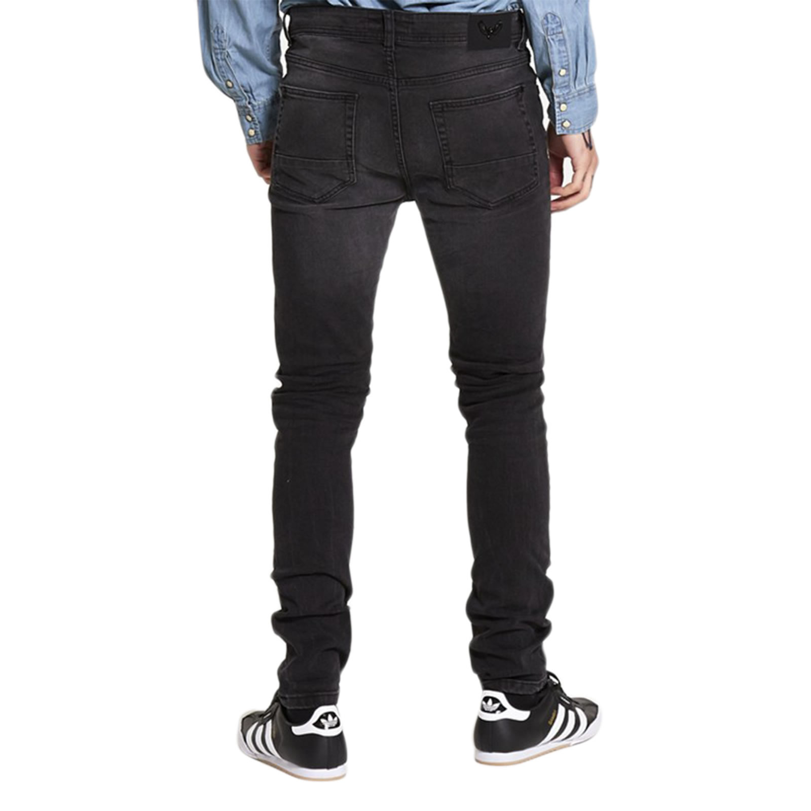 Mens Skinny Jeans Brave Soul Joe Stretch Distressed Black Wash ...