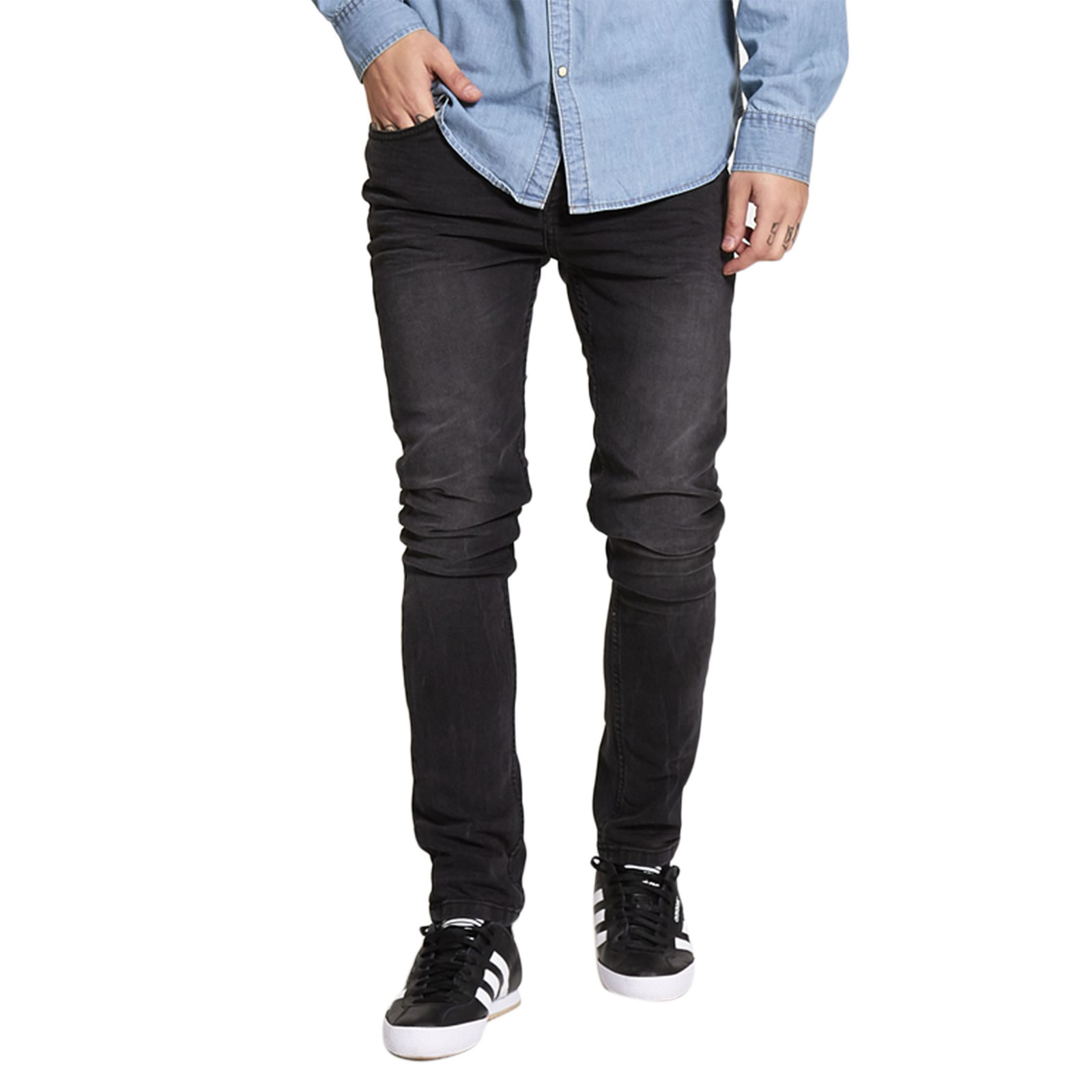 Mens Skinny Jeans Brave Soul Joe Stretch Distressed Black Wash ...