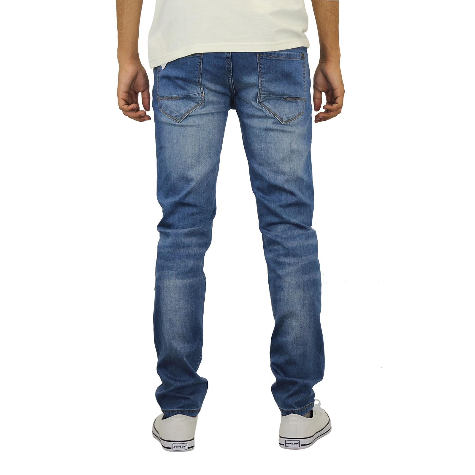 Jeans da Uomo Crosshatch emaciato Skinny Gamba Morbido Stretch Denim Pantaloni