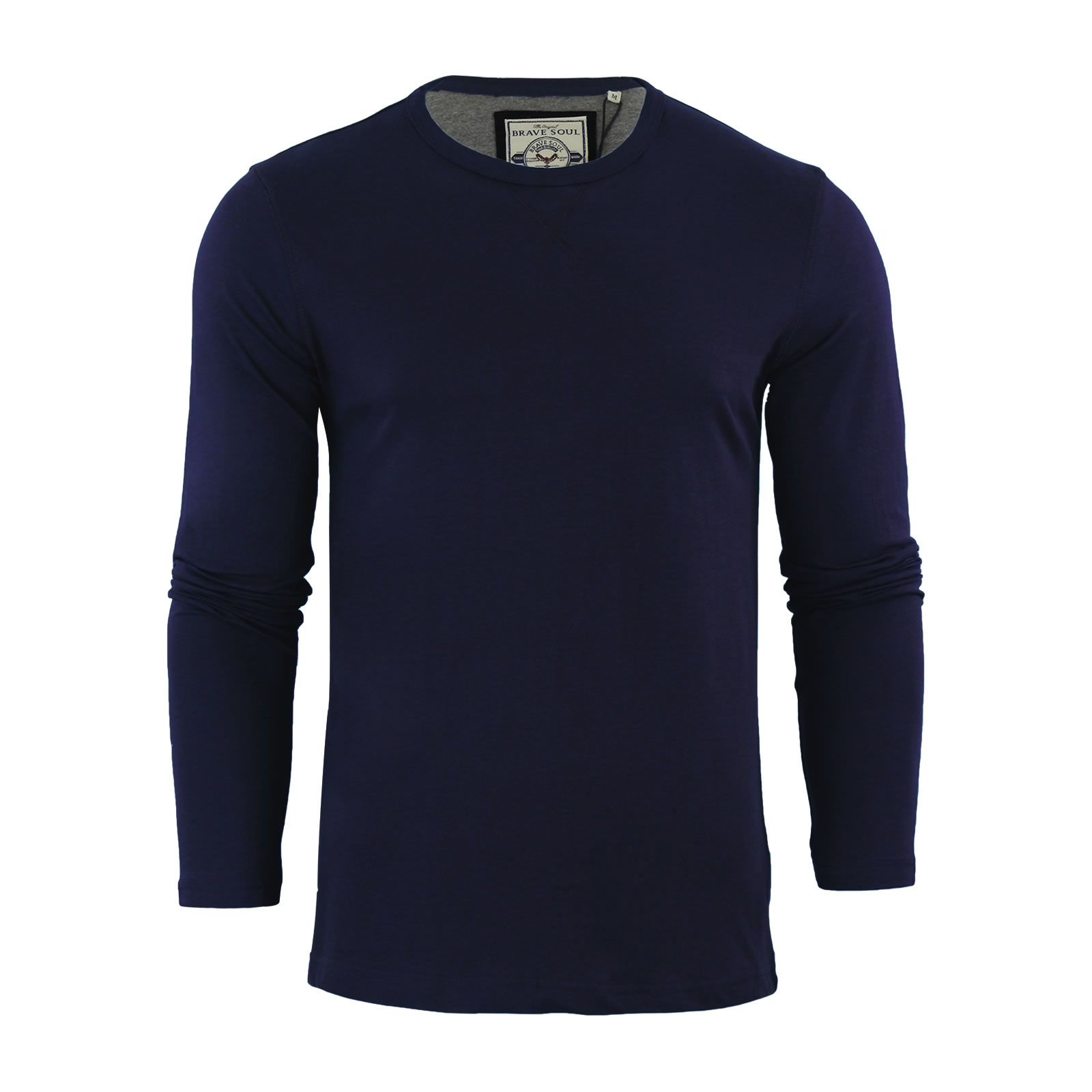 Mens t shirt by brave soul prague cotton long sleeved crew for Mens long sleeve casual cotton shirts