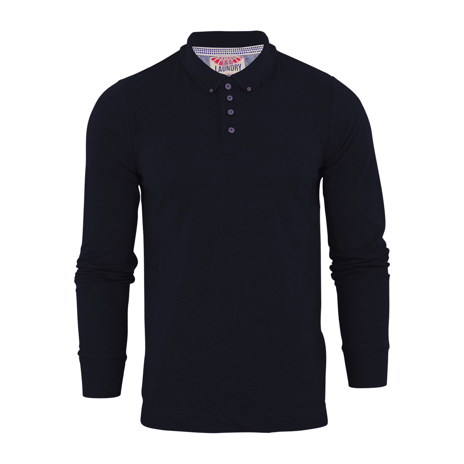 Mens polo t shirt tokyo laundry lowell cotton long sleeve for Mens casual collared shirts