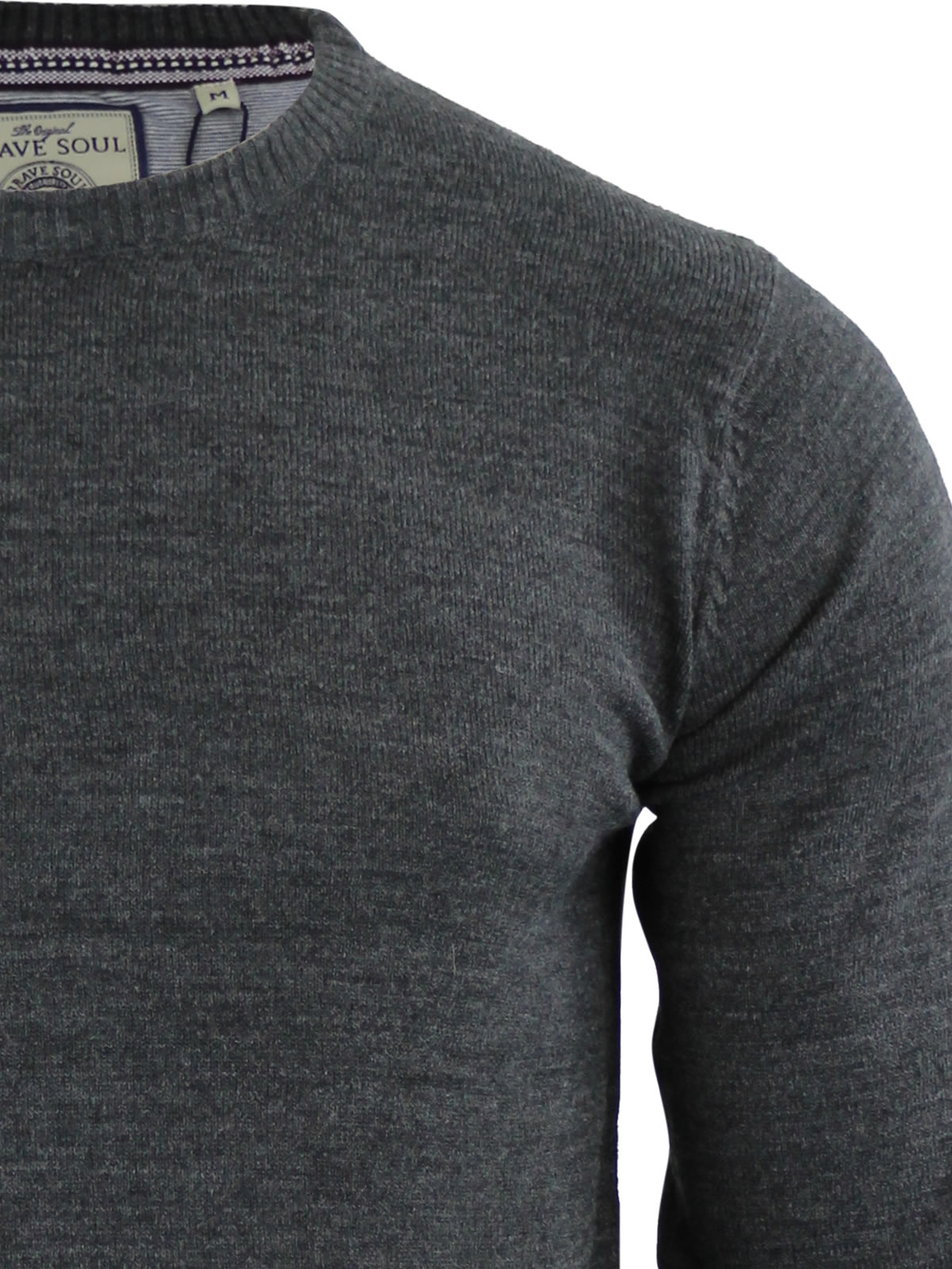 Mens-Jumper-Brave-Soul-Urbain-Knitted-Crew-Neck-Sweater thumbnail 7