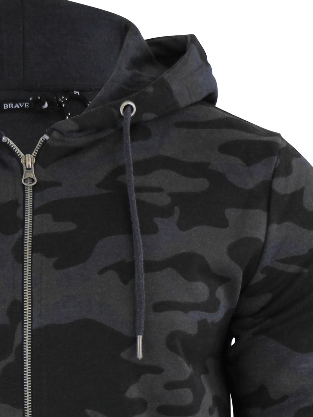 Mens Hoodie Brave Soul Bernard Camouflage Camo Hooded Zip Up Sweater