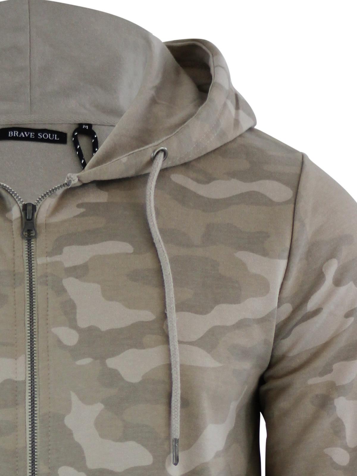 Mens Hoodie Brave Soul Bernard Camouflage Camo Hooded Zip Up ...