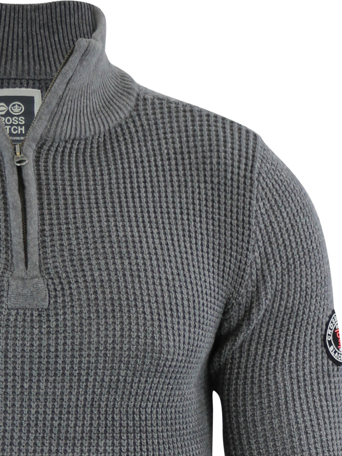 Mens Jumper Crosshatch Fireguard Waffle Knitted 1/4 Zip Up Funnel ...