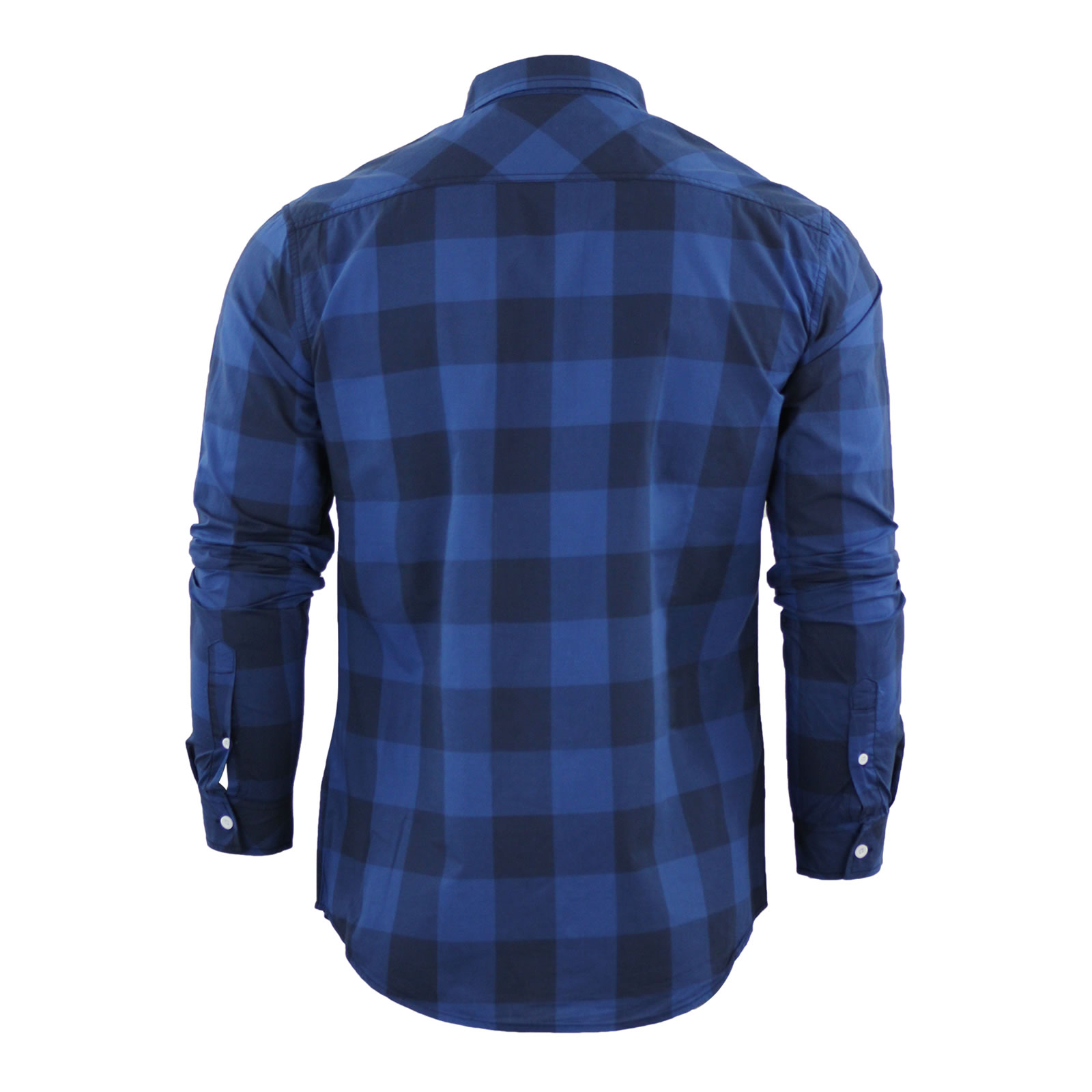 Mens checked shirt crosshatch wentley cotton collared long for Mens casual collared shirts