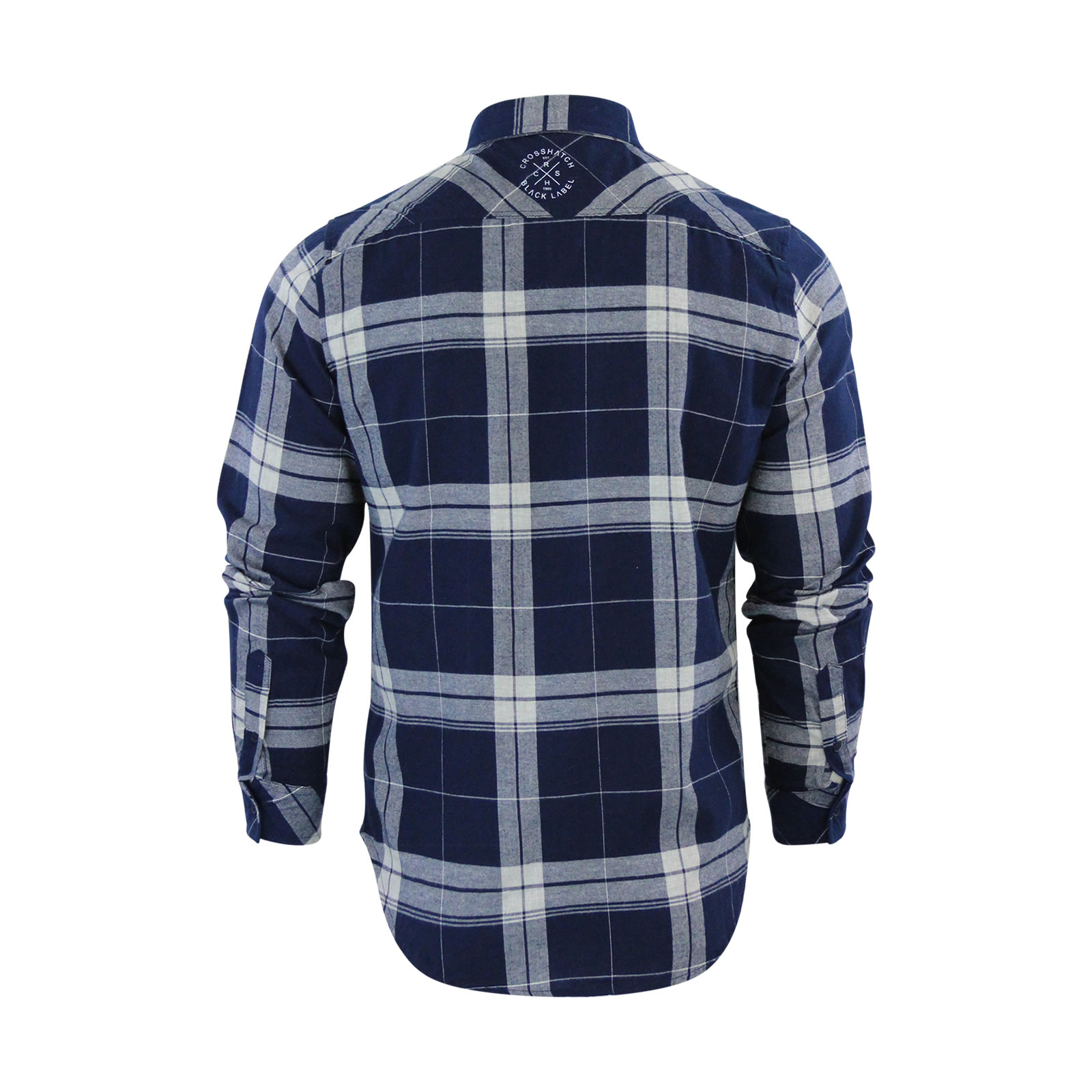 Homme-chemise-a-carreaux-crosshatch-mitty-coton-a-col-a-manches-longues-top-casual miniature 3