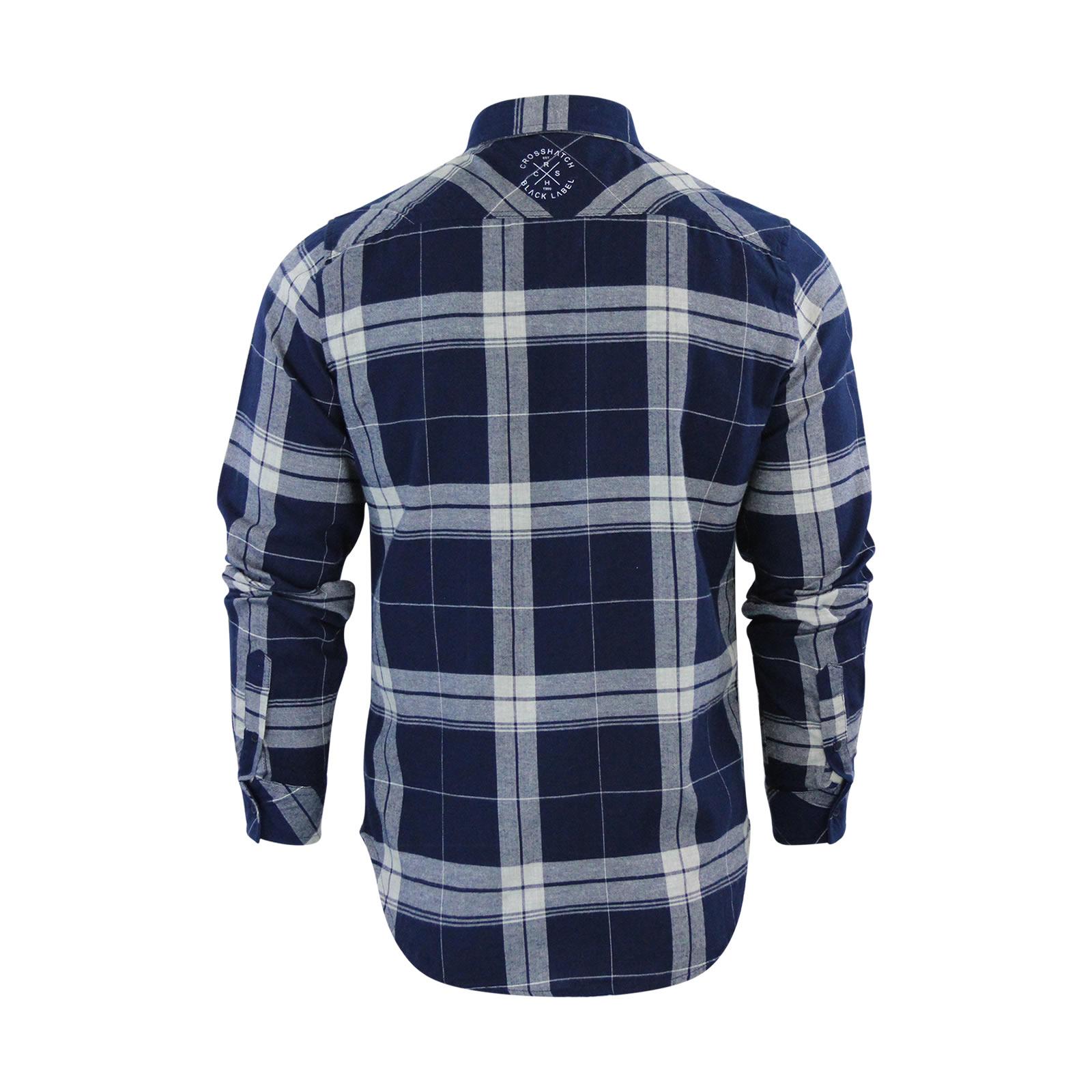 miniature 3 - Homme chemise à carreaux crosshatch mitty coton à col à manches longues top casual