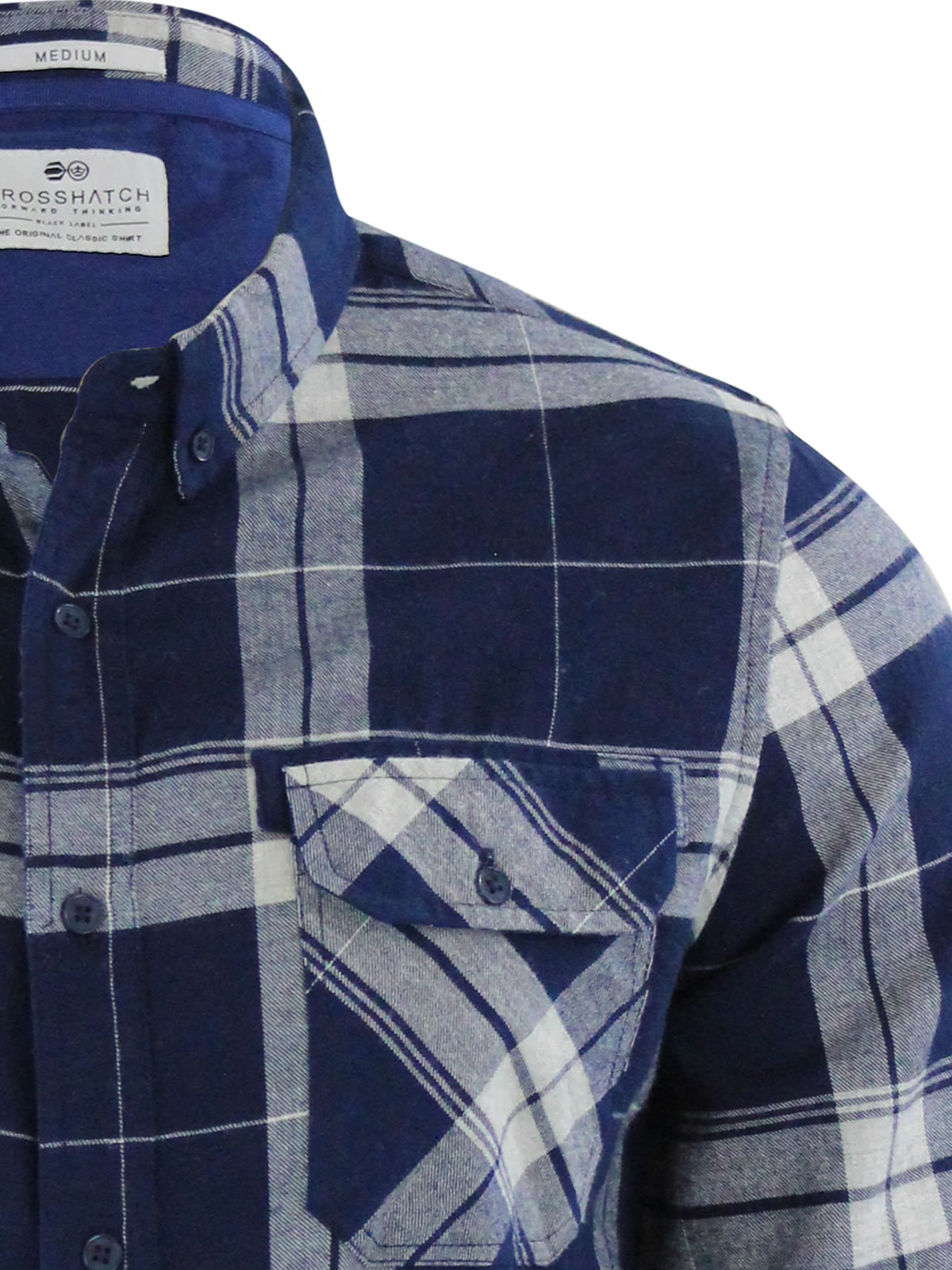 miniature 4 - Homme chemise à carreaux crosshatch mitty coton à col à manches longues top casual