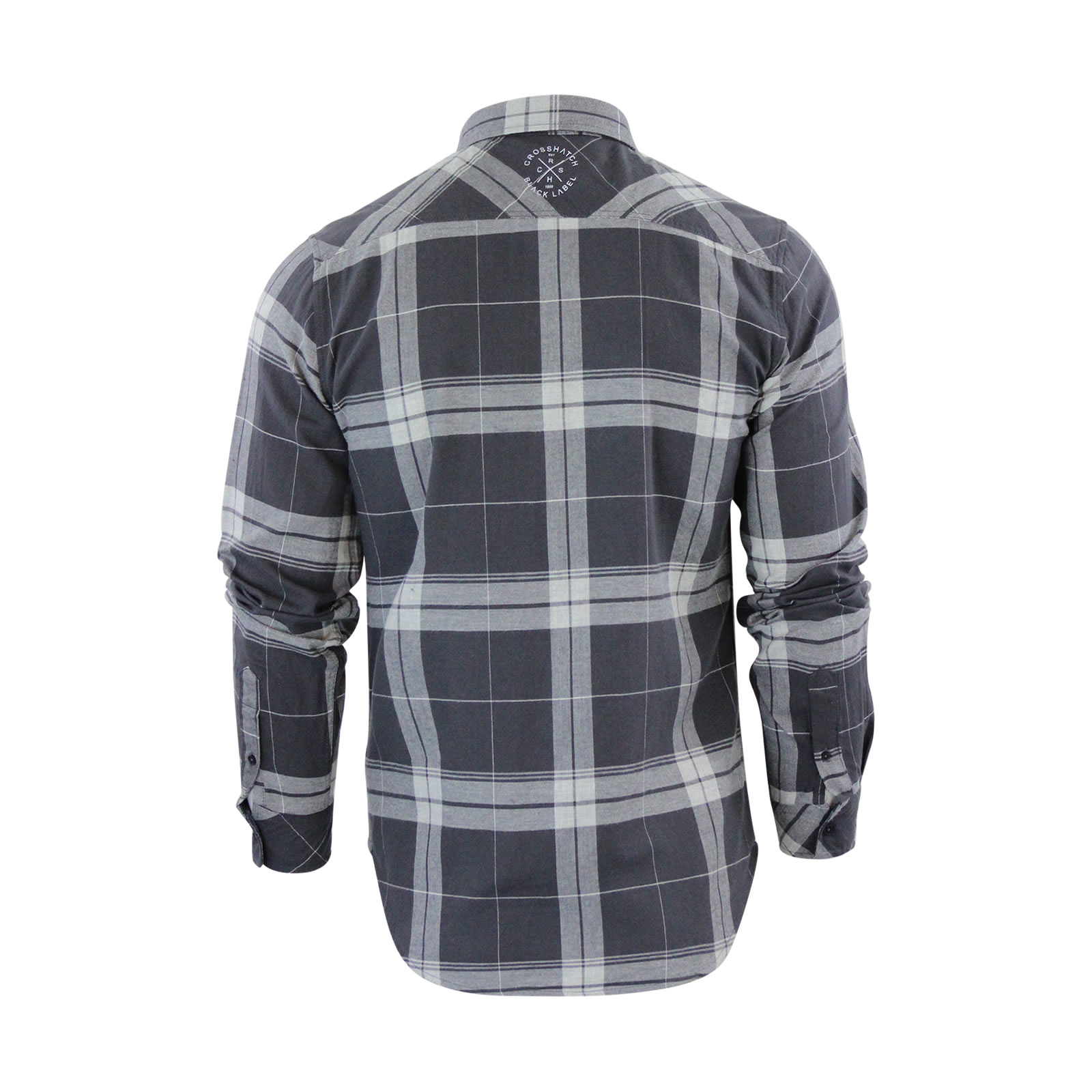 Homme-chemise-a-carreaux-crosshatch-mitty-coton-a-col-a-manches-longues-top-casual miniature 6