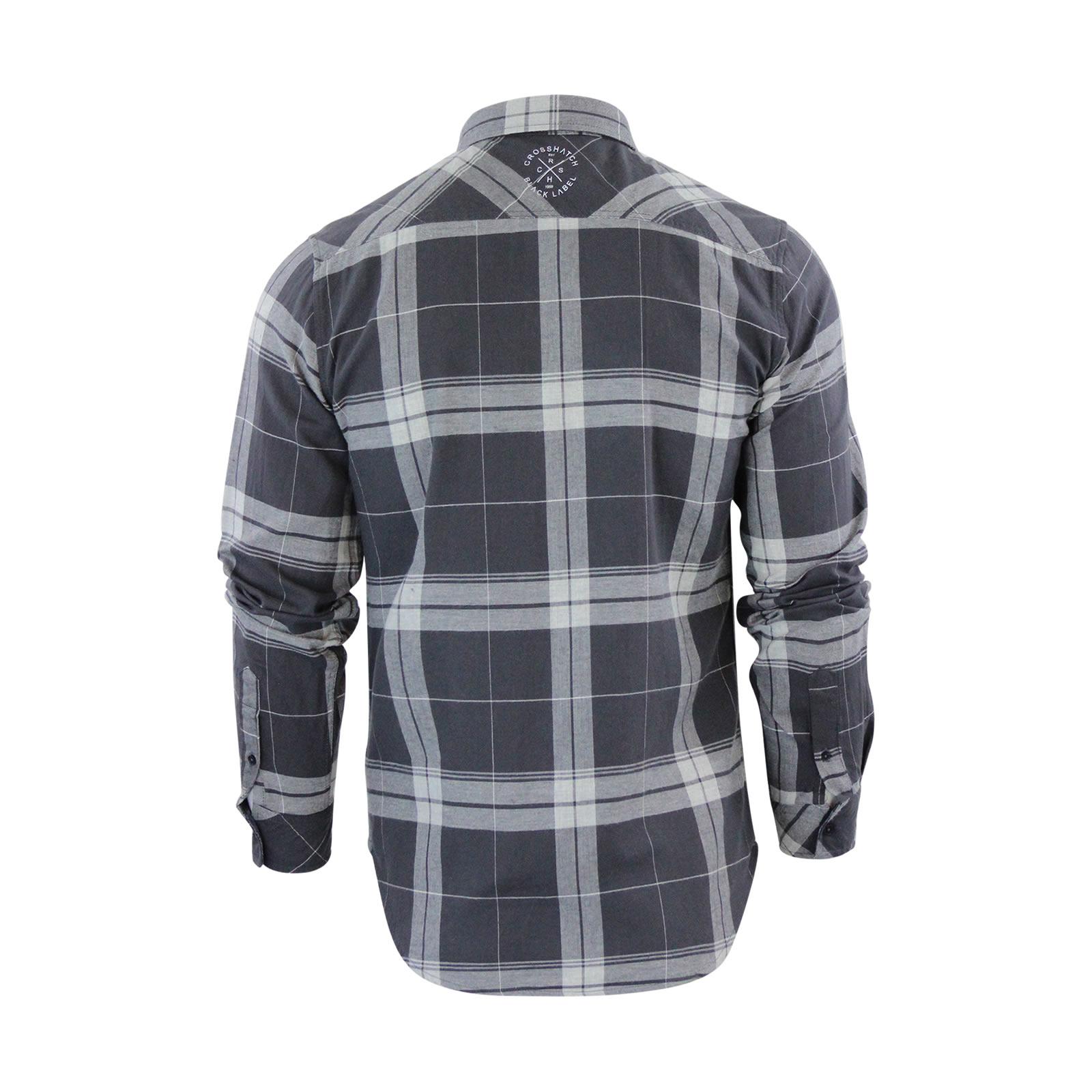 miniature 6 - Homme chemise à carreaux crosshatch mitty coton à col à manches longues top casual