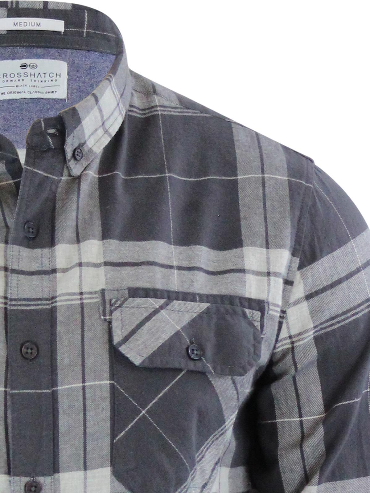 miniature 7 - Homme chemise à carreaux crosshatch mitty coton à col à manches longues top casual