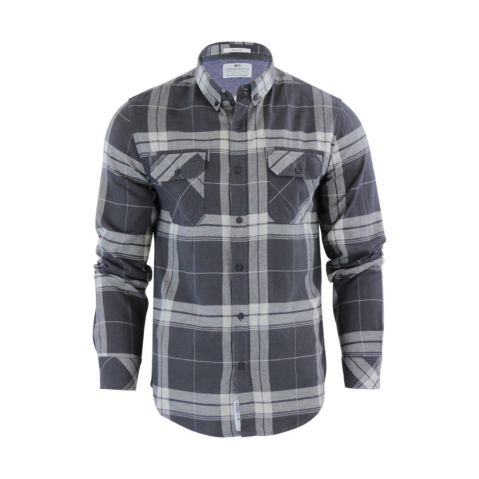 Mens-Check-Shirt-Crosshatch-Mitty-Cotton-Collared-Long-Sleeve-Casual-Top