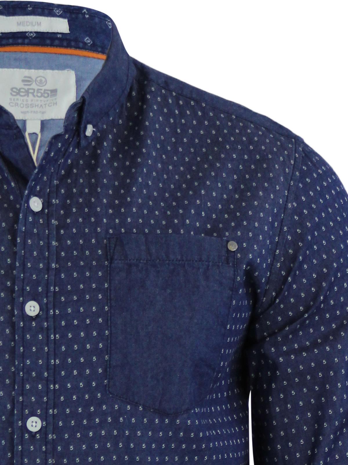 Mens-Denim-Shirt-Crosshatch-Plantain-Cotton-Long-Sleeve-Collared-Casual-Top