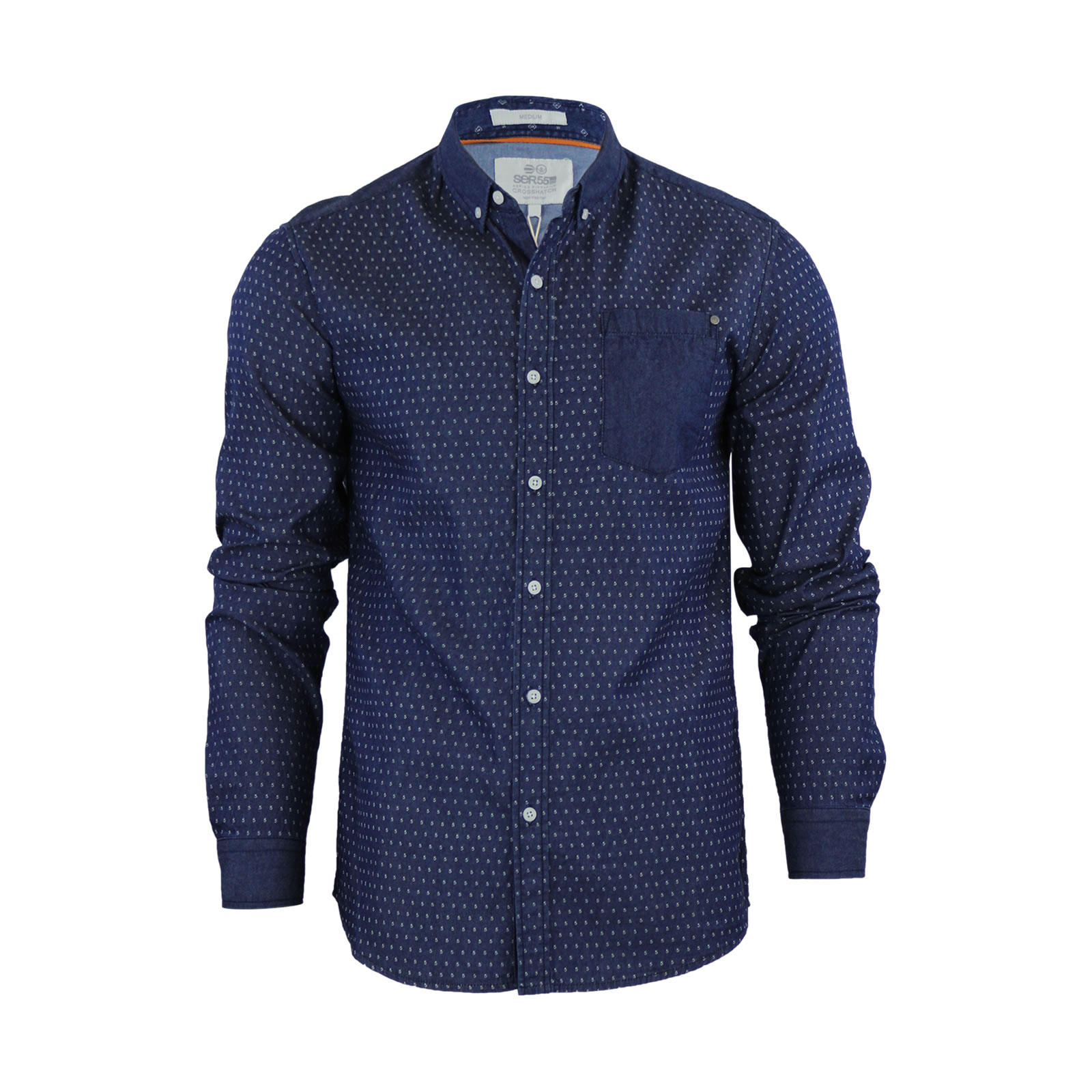 Mens denim shirt crosshatch plantain cotton long sleeve for Mens casual collared shirts